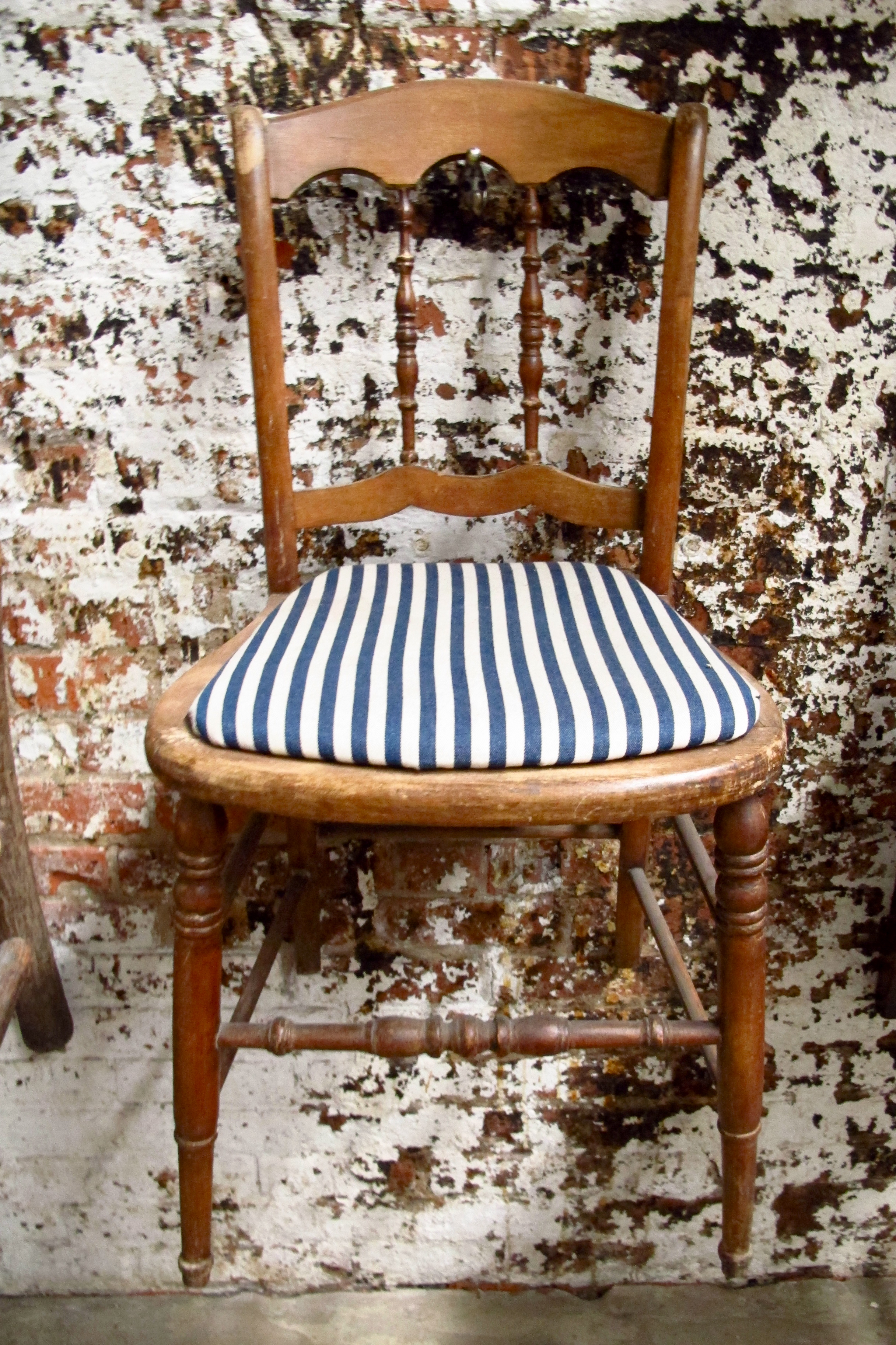 "Blue Stripe Wood ""Cottage"" Chair $40"
