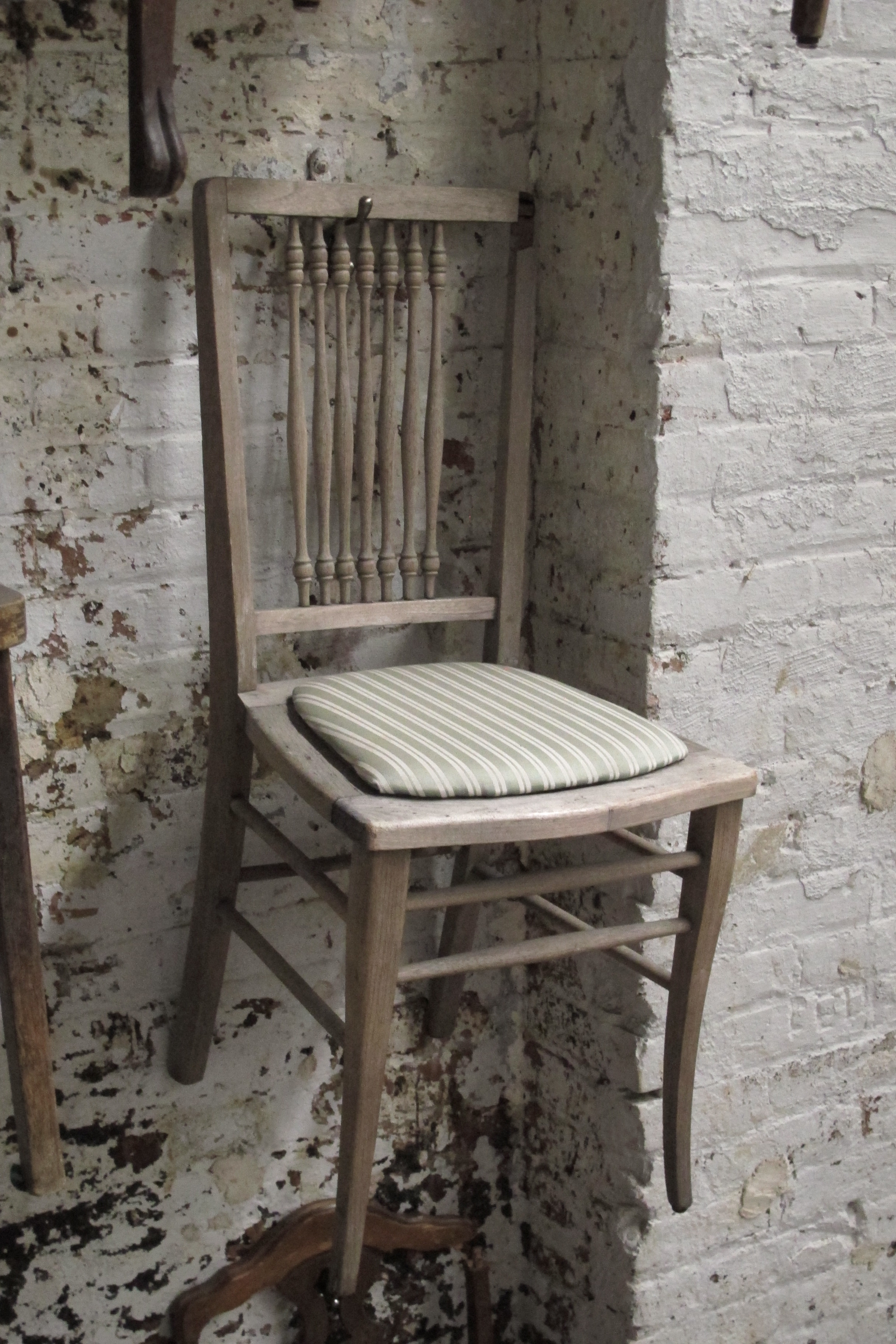 'Faded Grey' Green Stripe Antique Wood Chair $30