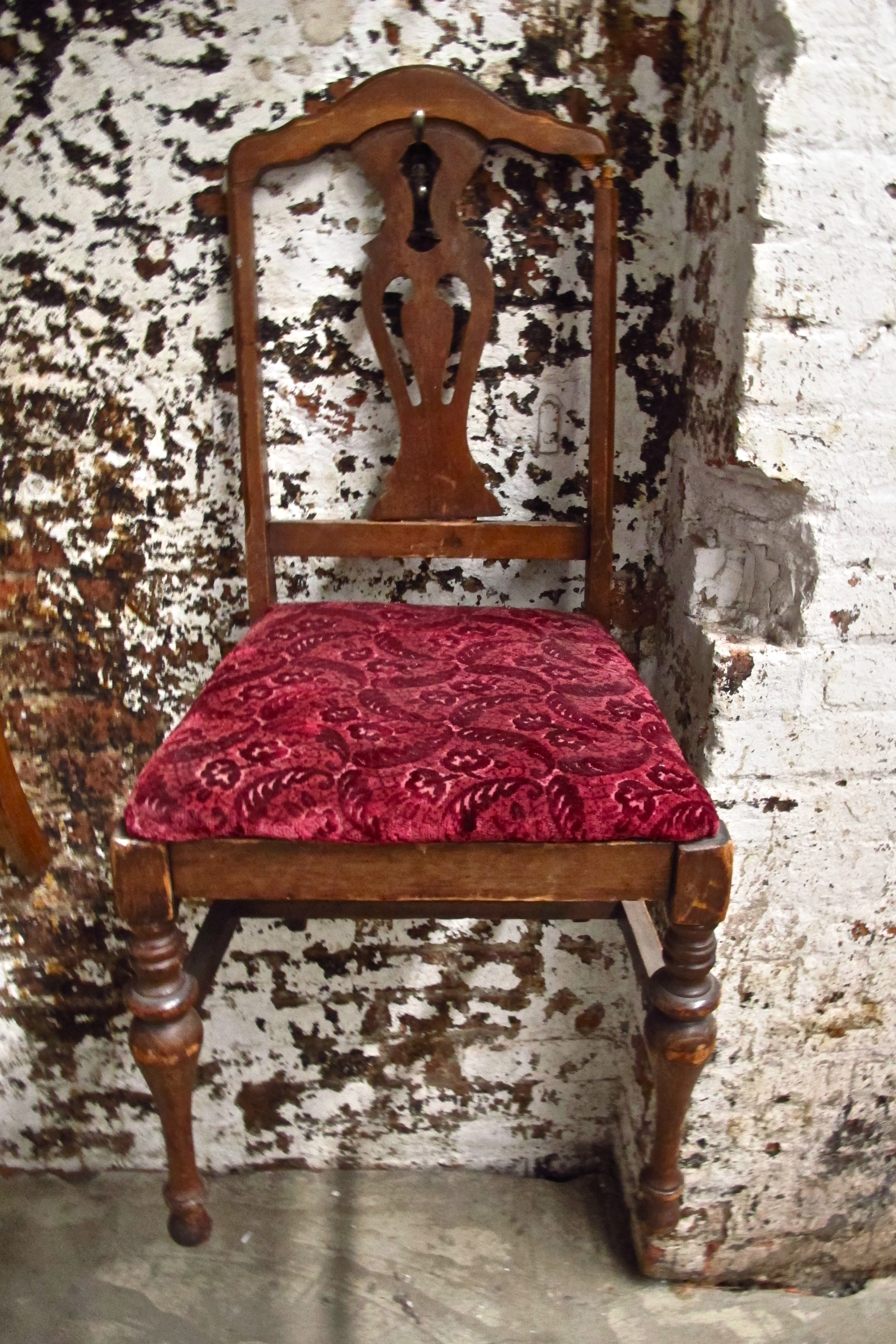 Red Velvet Seat Wood Dining Chair $50