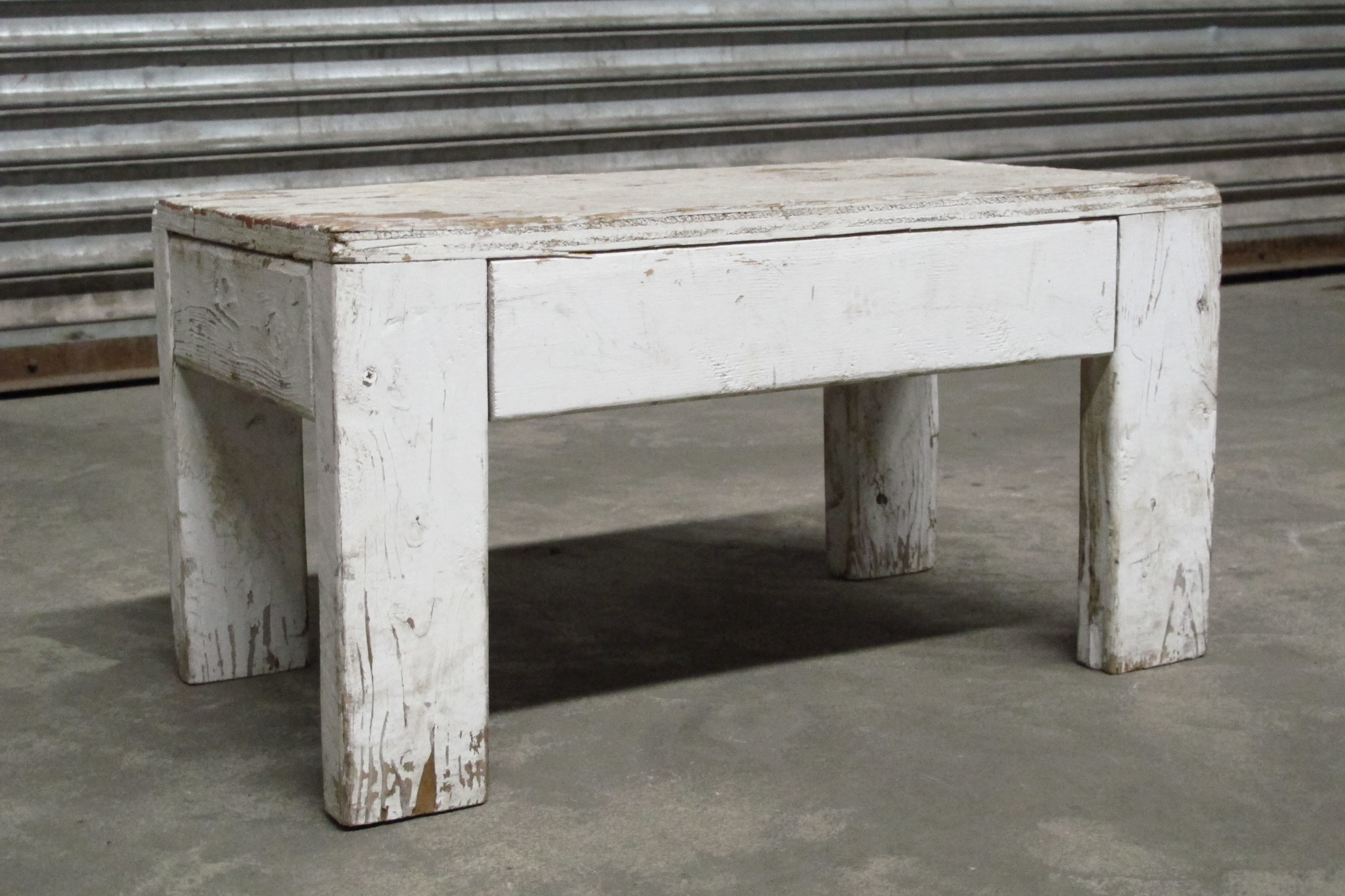 White Distressed Short Bench $35