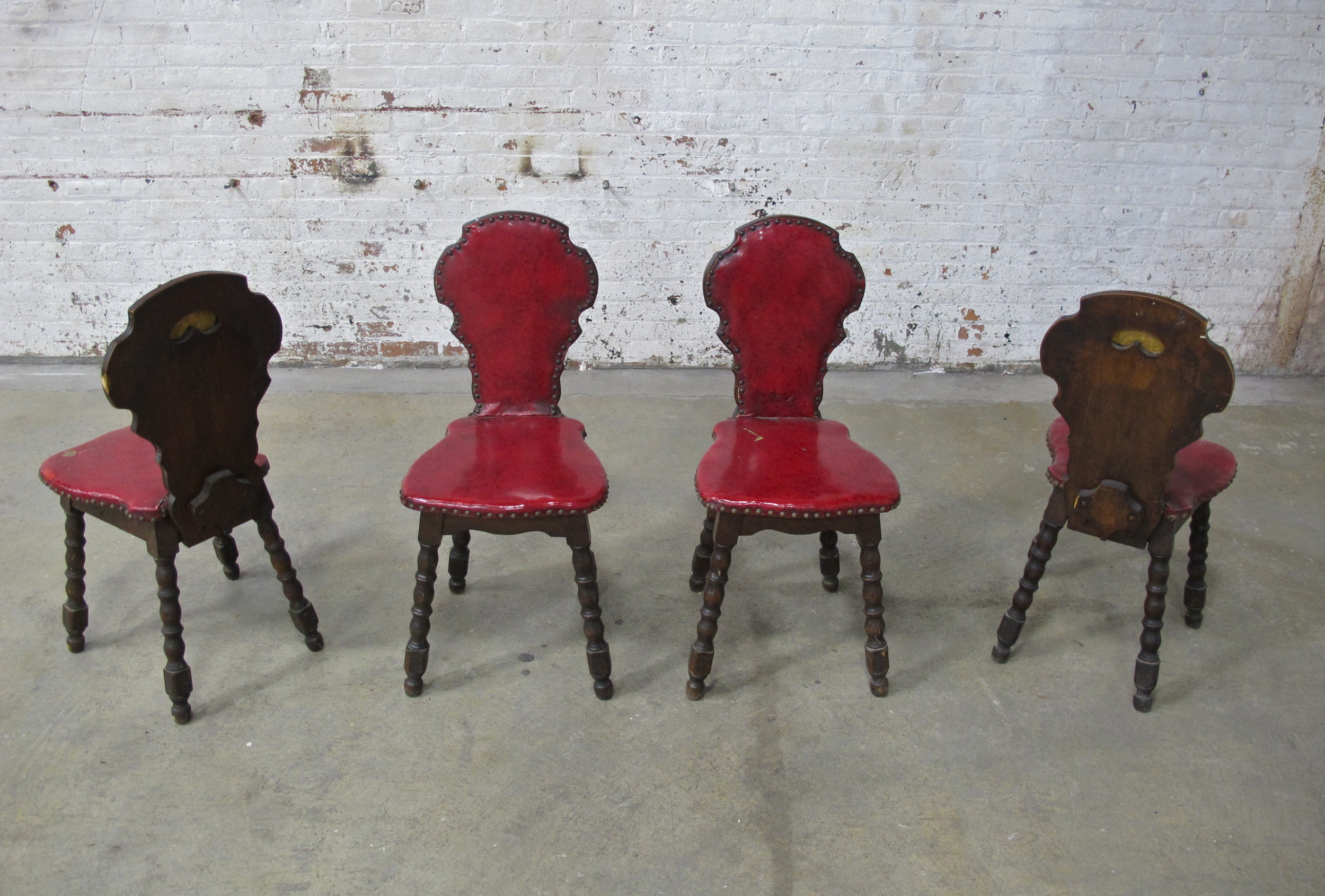 (4) Red Vinyl Seat Dining Chairs $30/ea