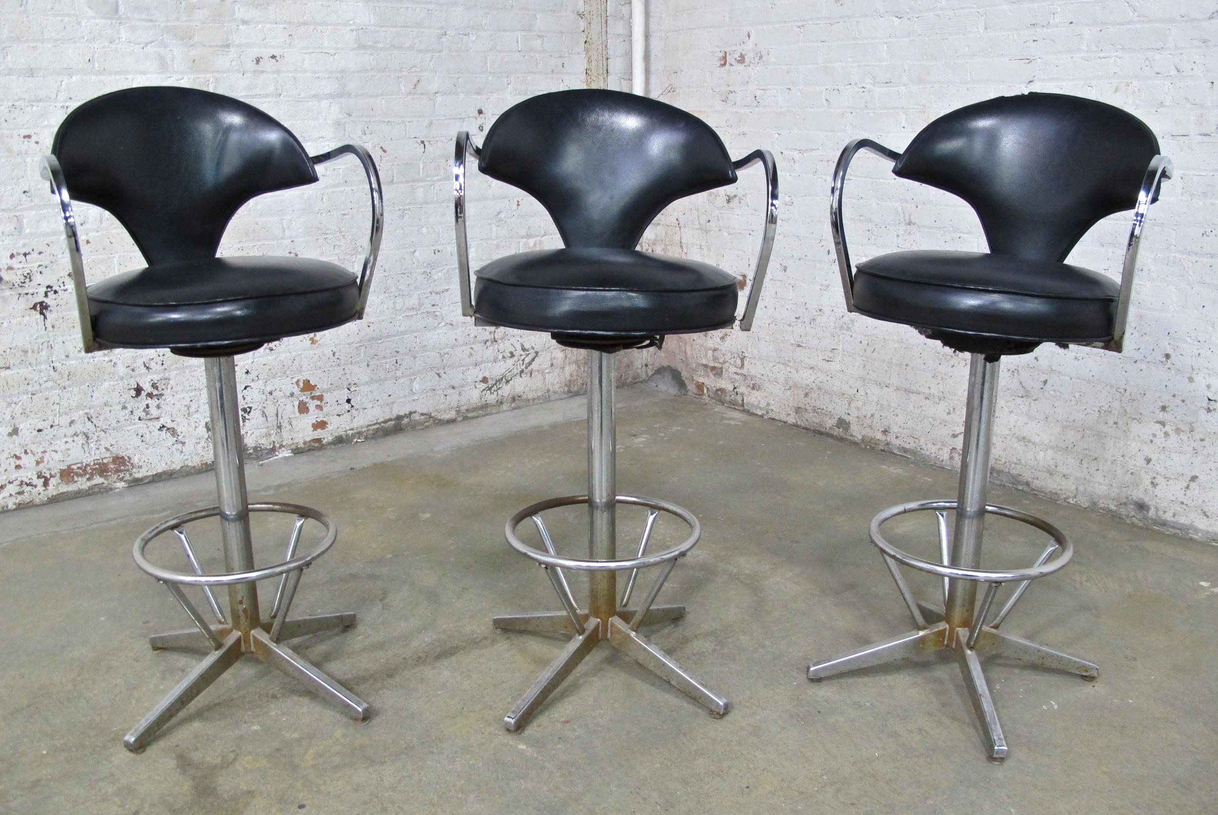 Black Vinyl Vanity Chairs (4) $75/ea