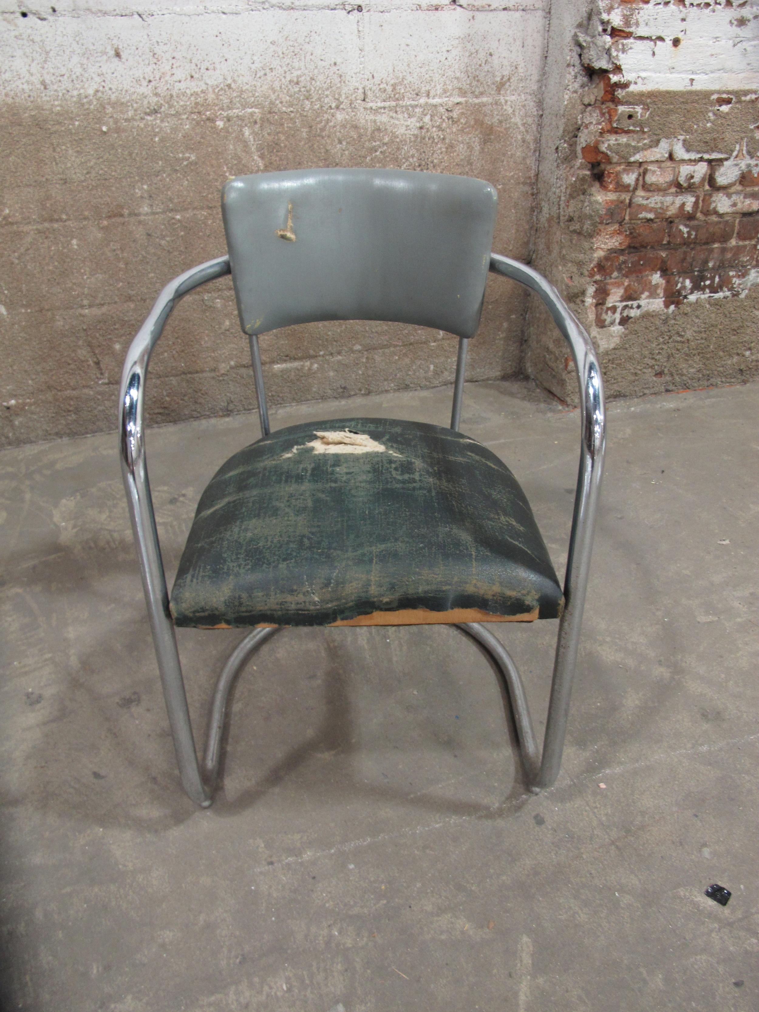 Art Deco Distressed Grey and green Chair $70