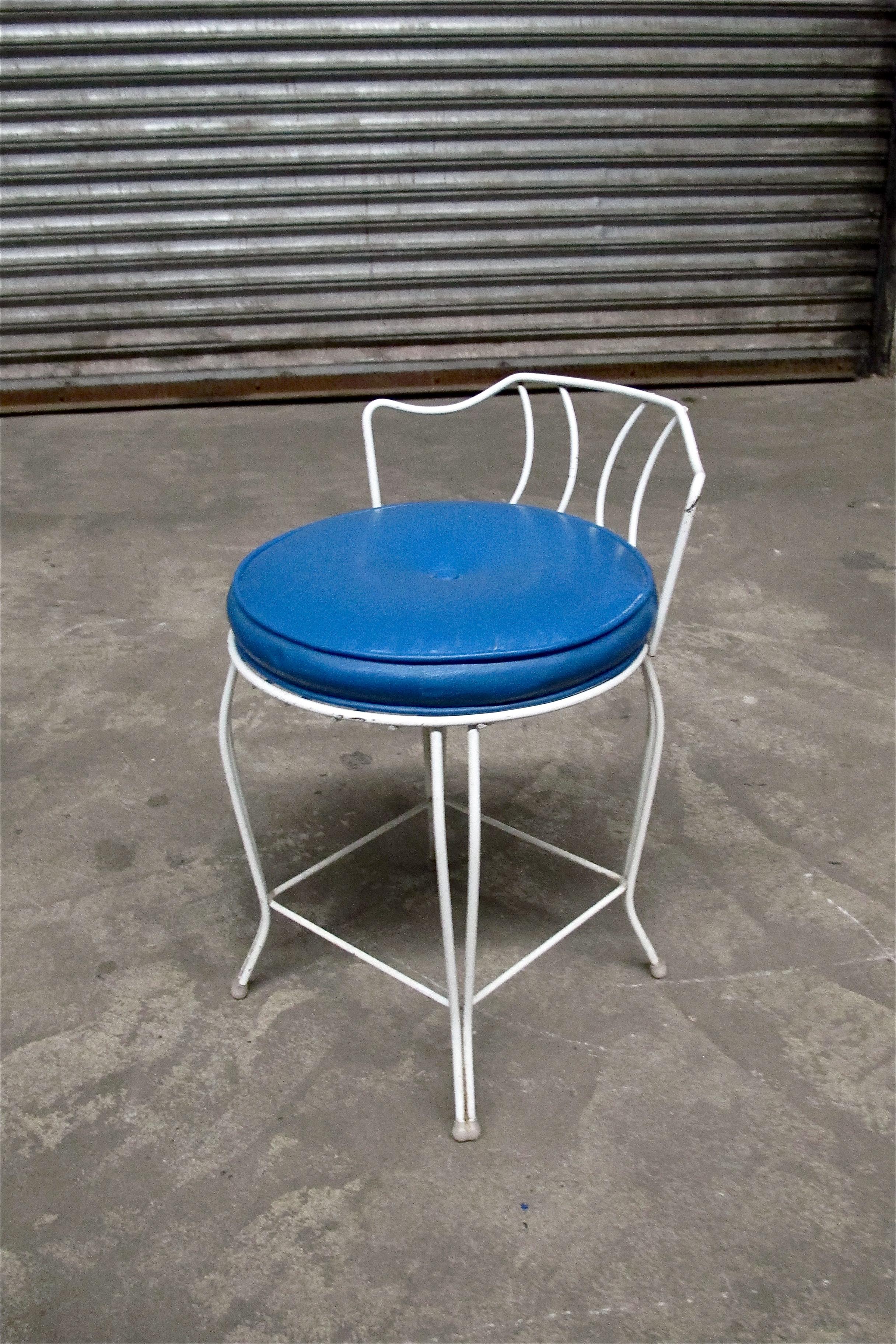 Blue Short White Parlor Chair $35