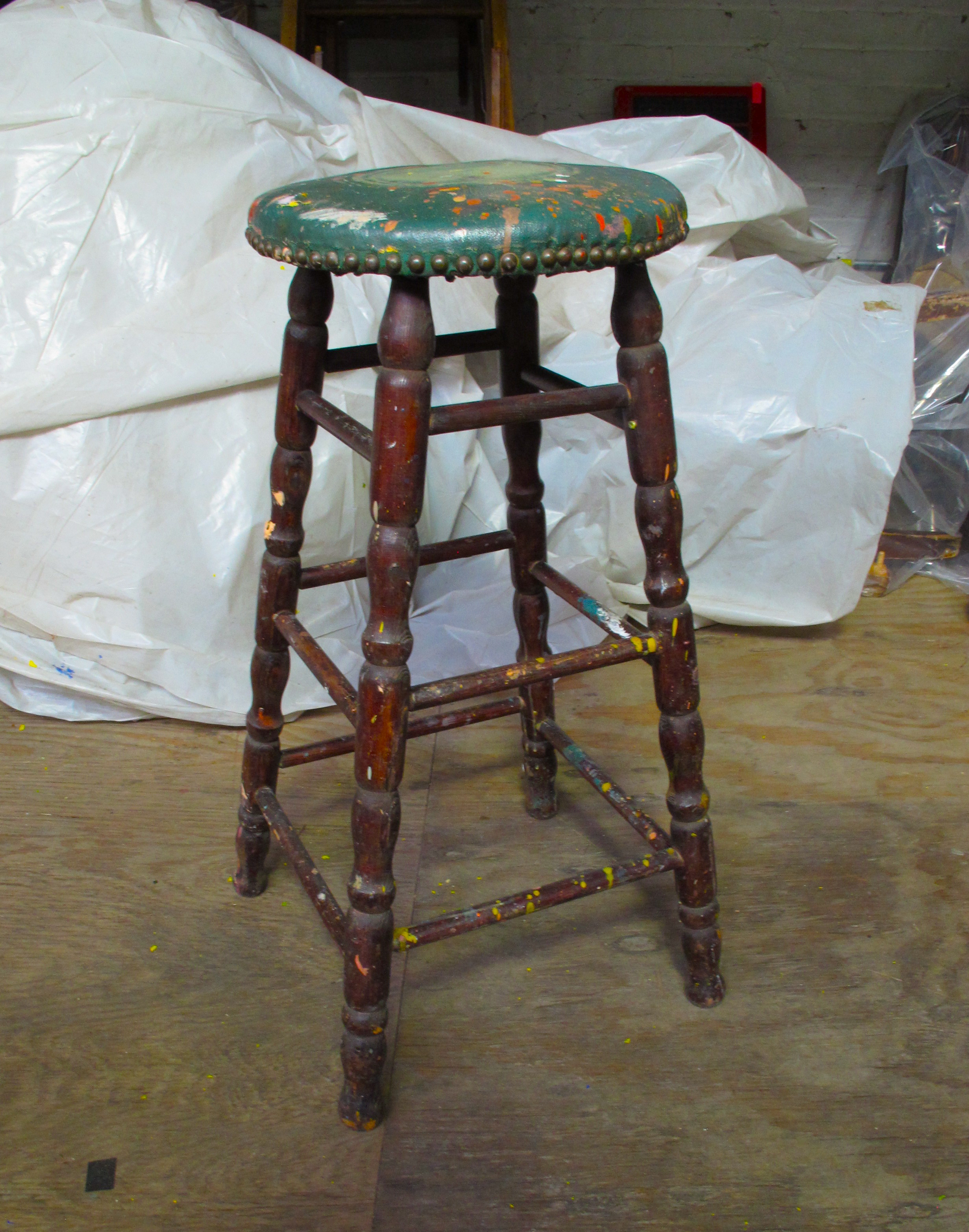 green Seat Painter's Wood Stool $30