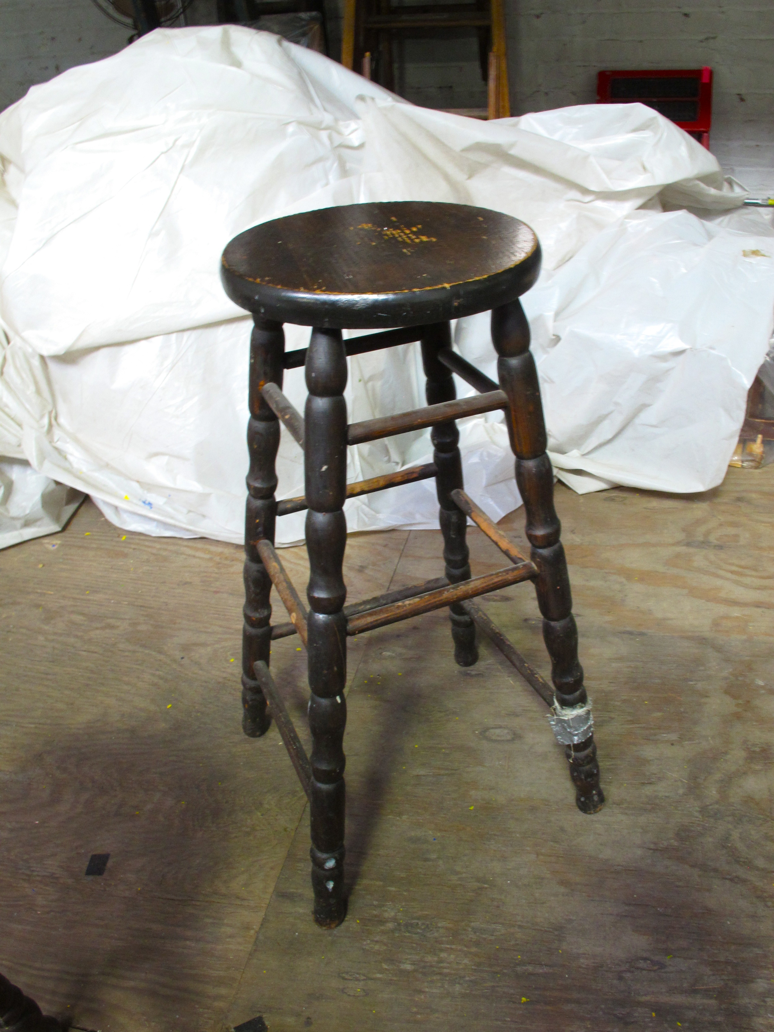 Dark Wood Turned Leg Stool $30