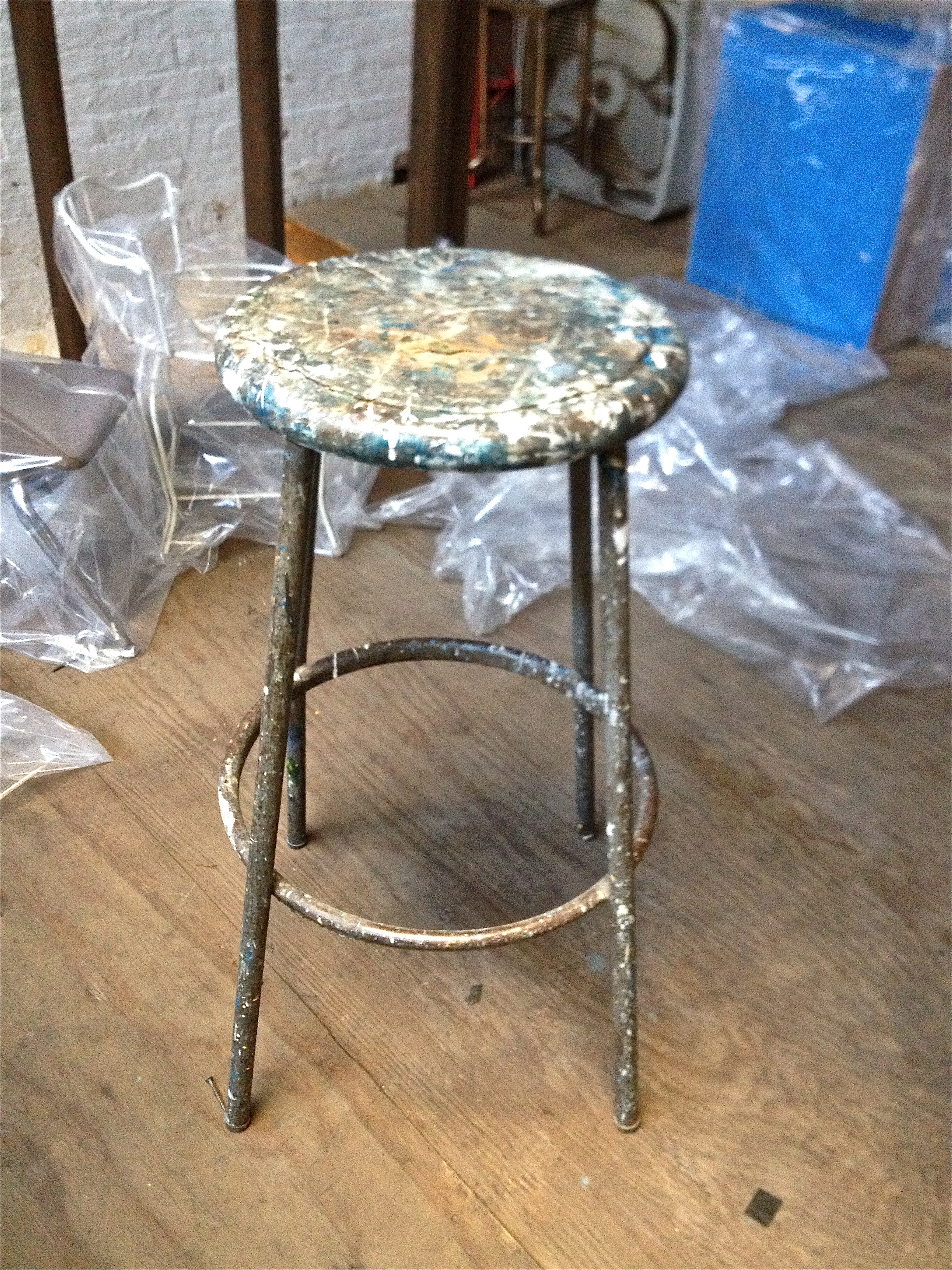 Metal Paint-Splattered Tall Stool $50