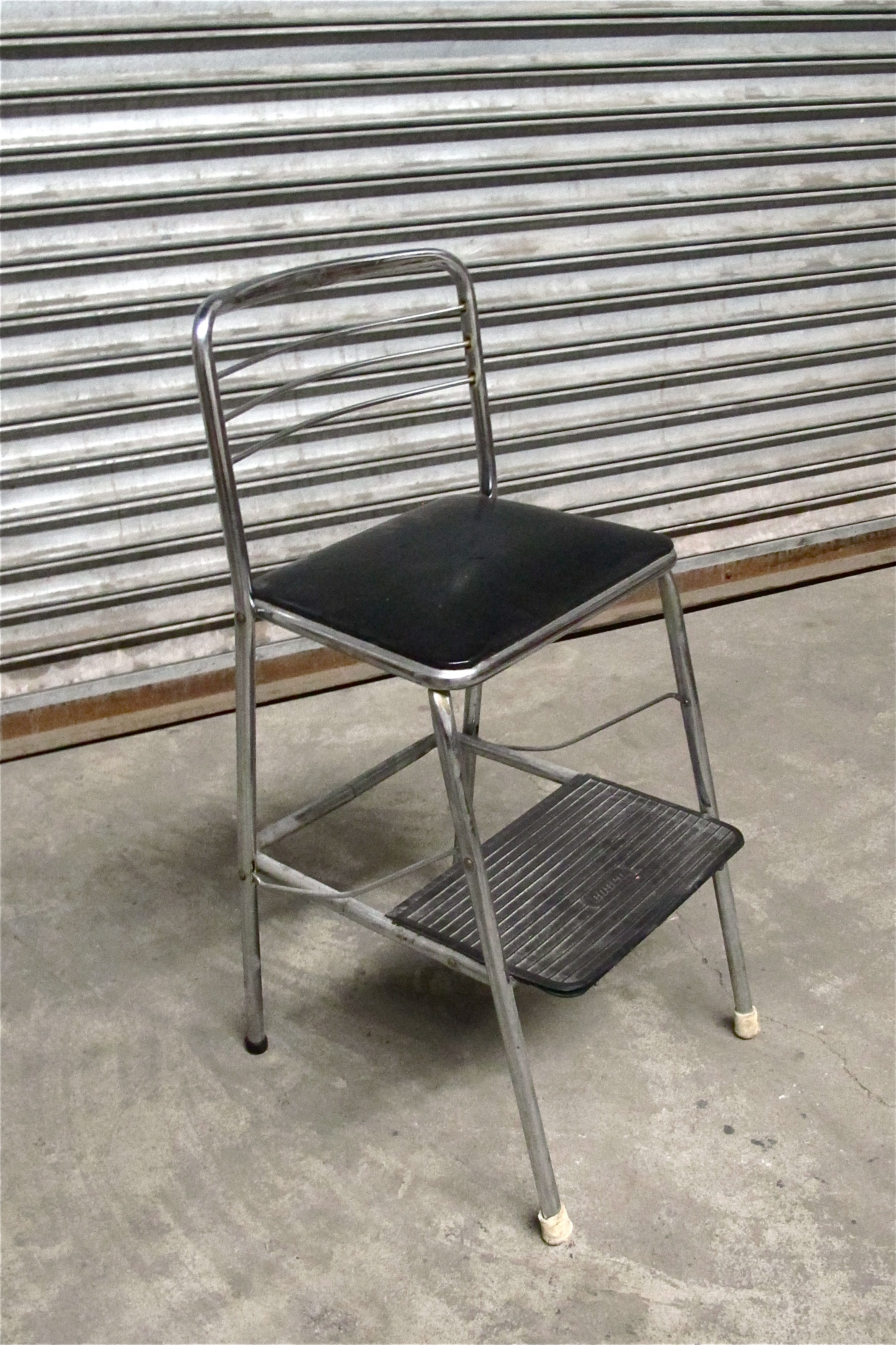 Silver and Black 2-step Kitchen Chair $40