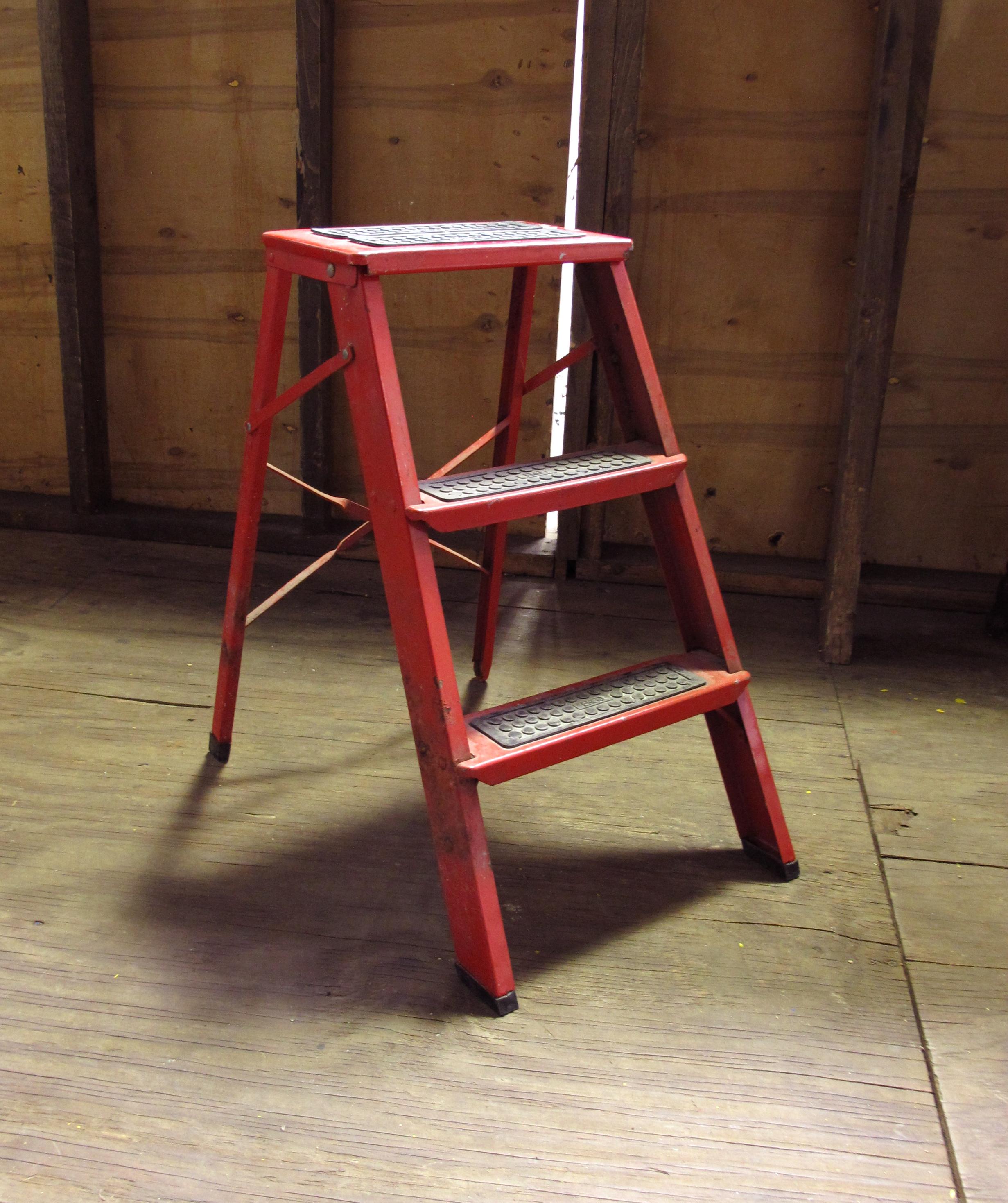 Short Red Metal 3-step Ladder $25