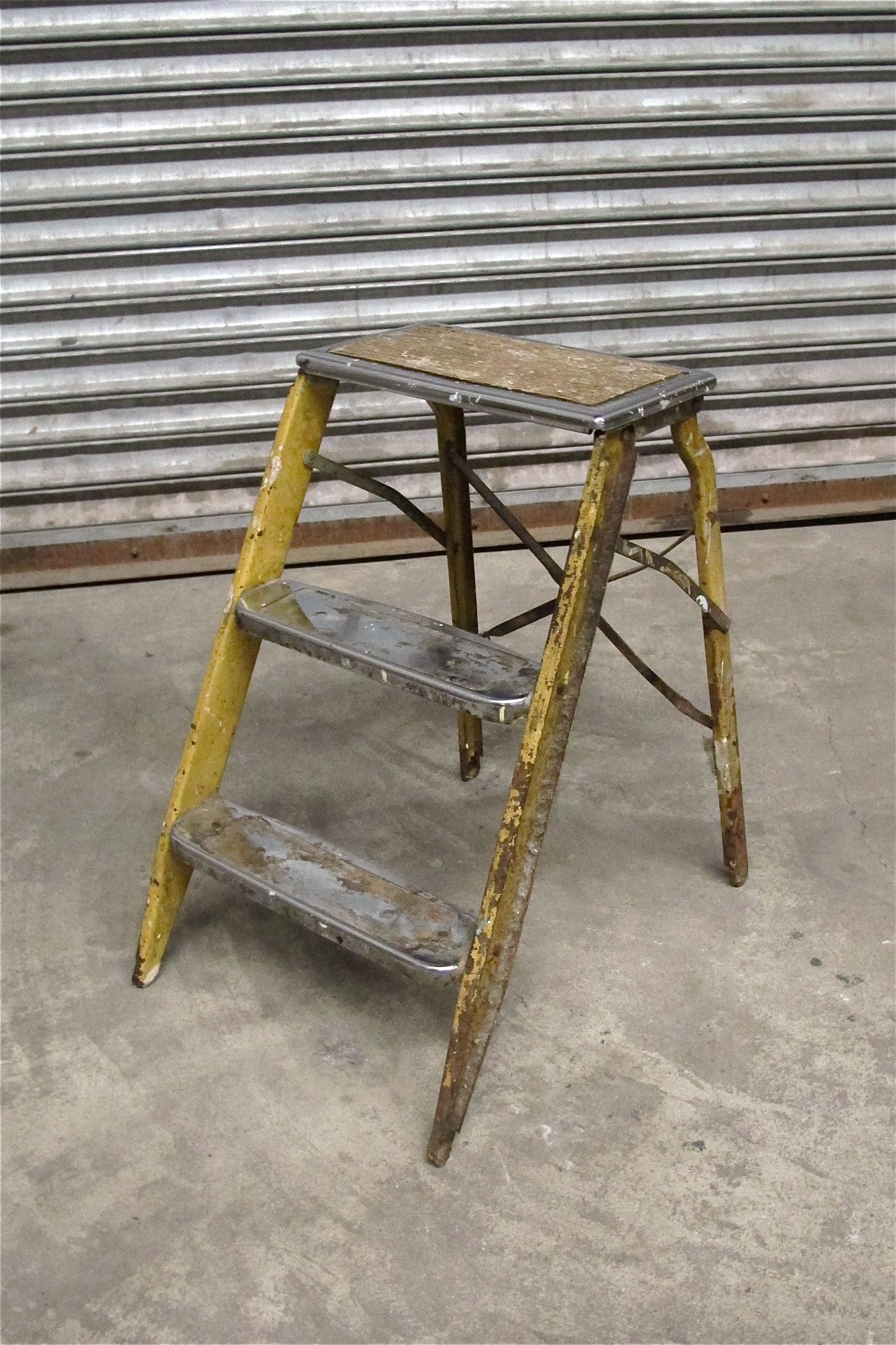 Vintage Short Yellow Metal 3-Step Ladder $40