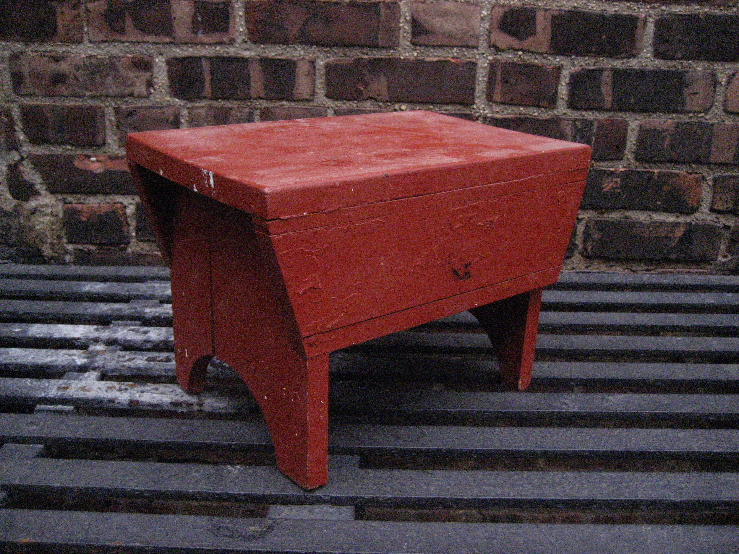 Short Red Low Stool $30