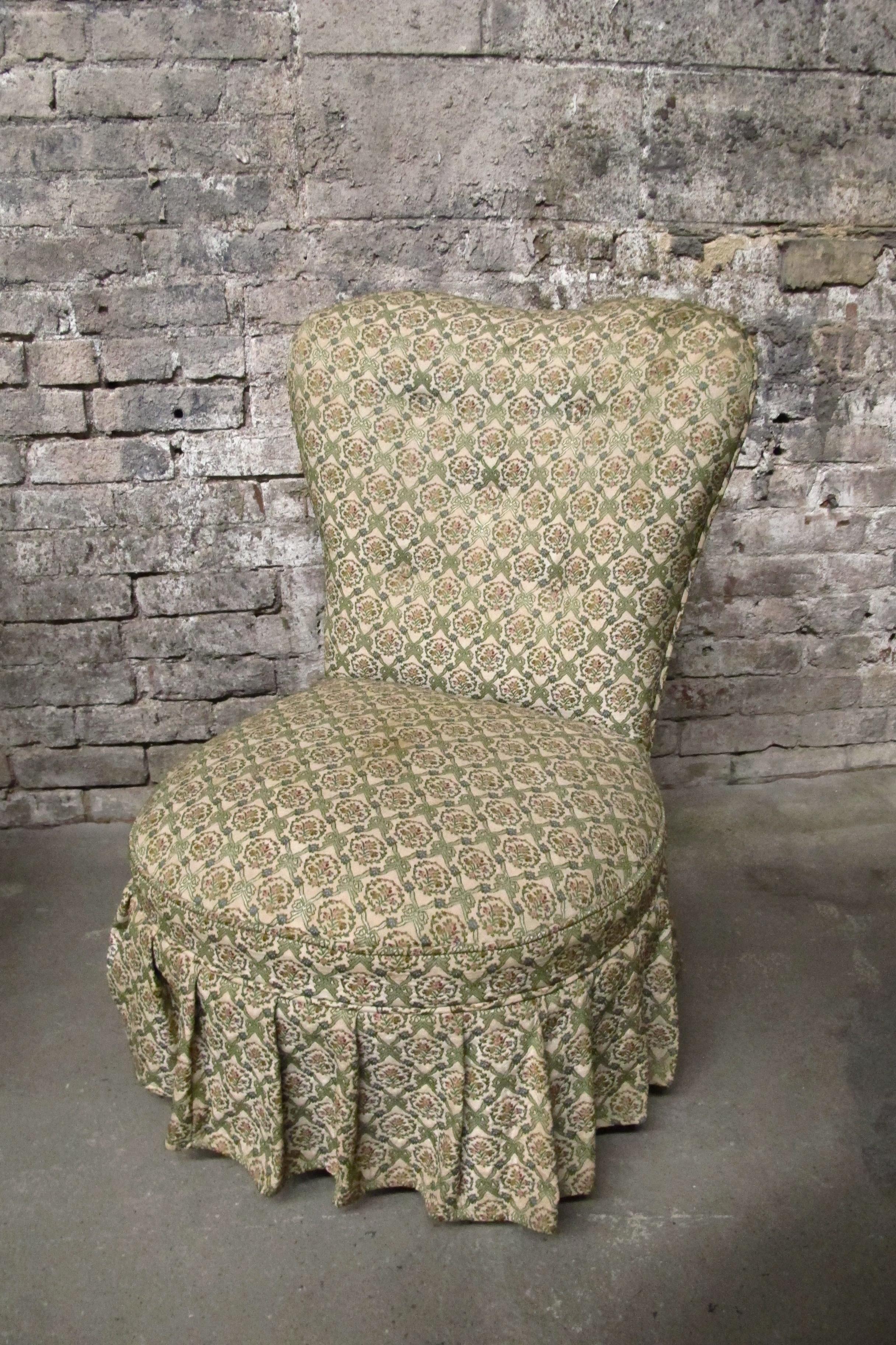 Armless Perch Slipper Chair $100