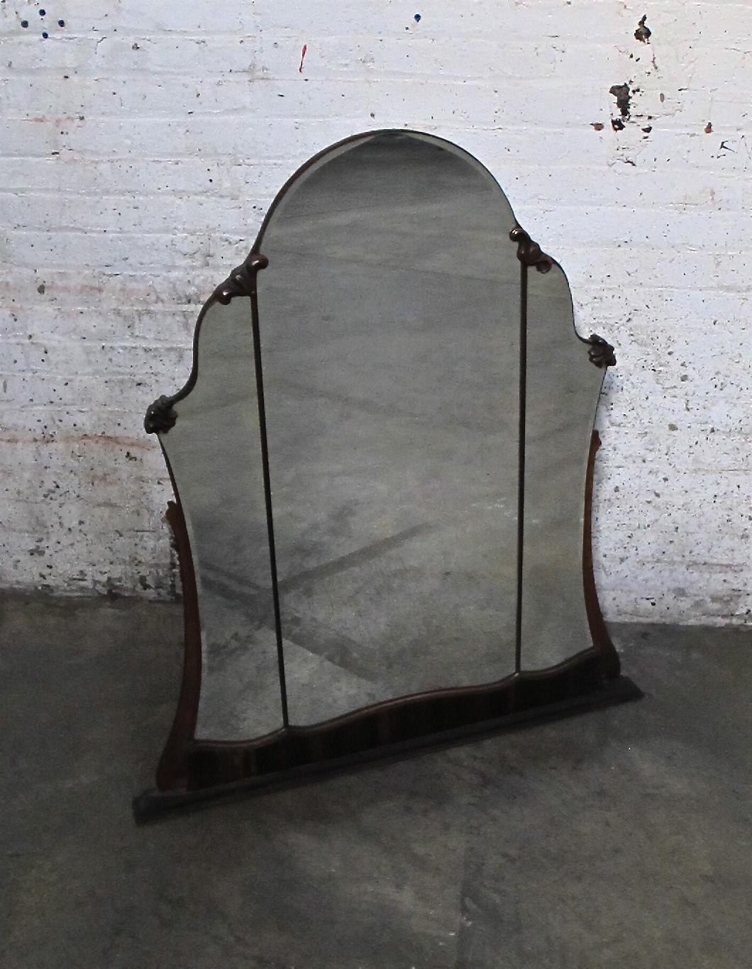 Three-paned Mirror with Wood Trim $100