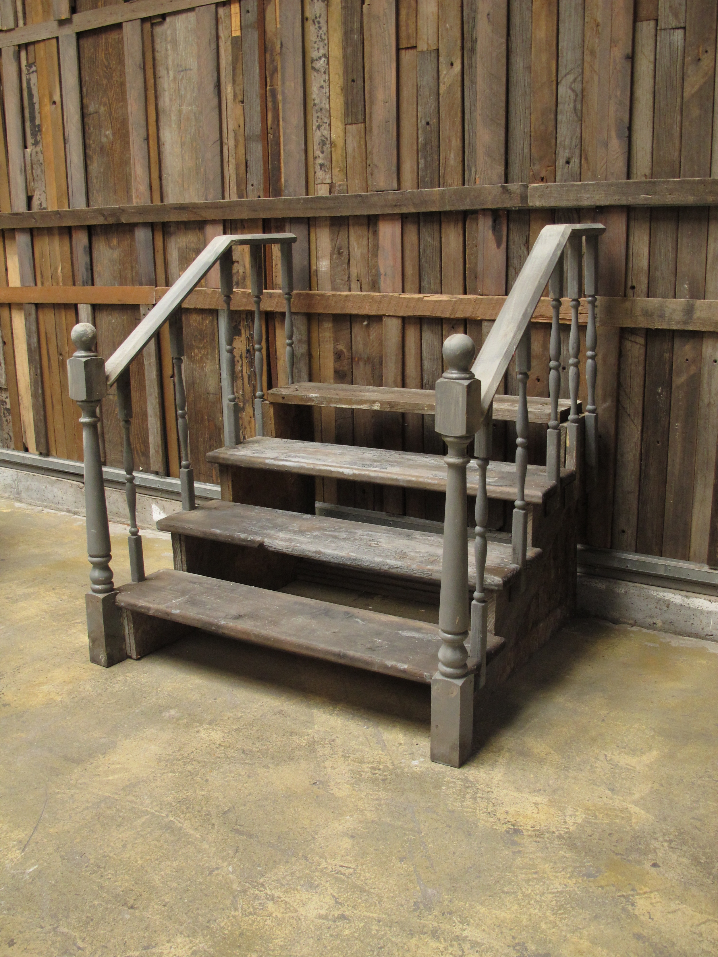 Grey Stoop Stairs with Railings $225