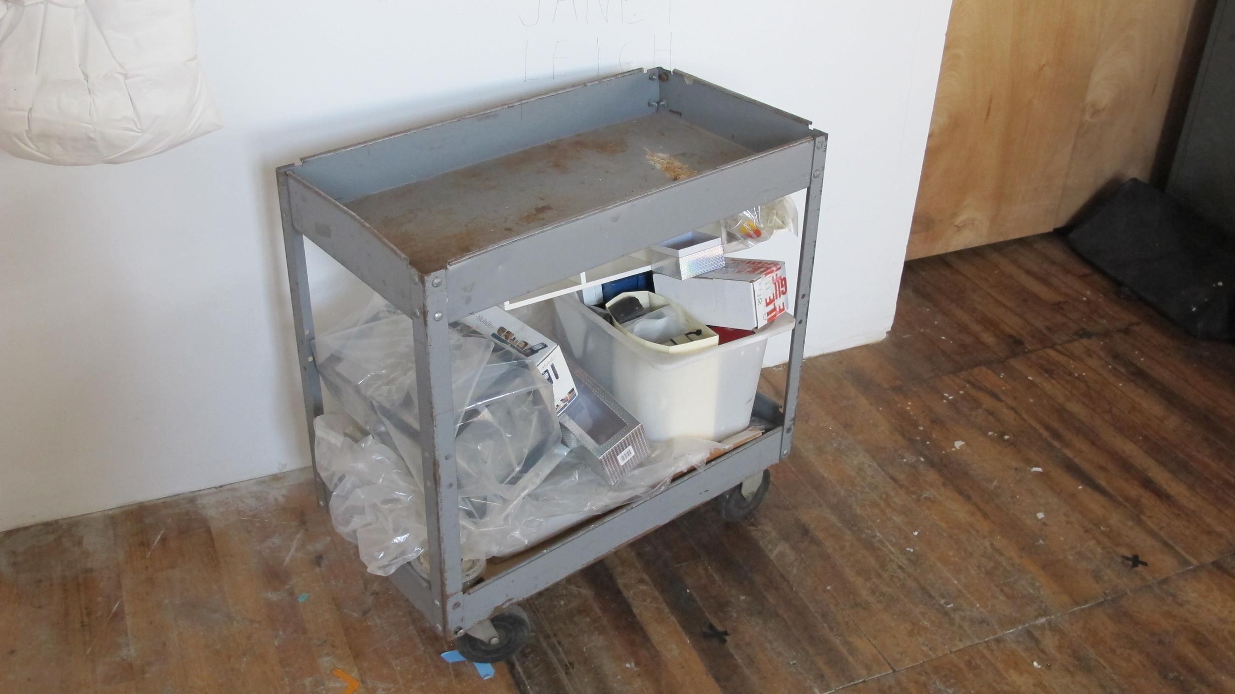 Light-Grey Rusted Tool Cart $60