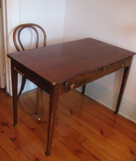 "Wood Table on Wheels 42""x24"" $150"