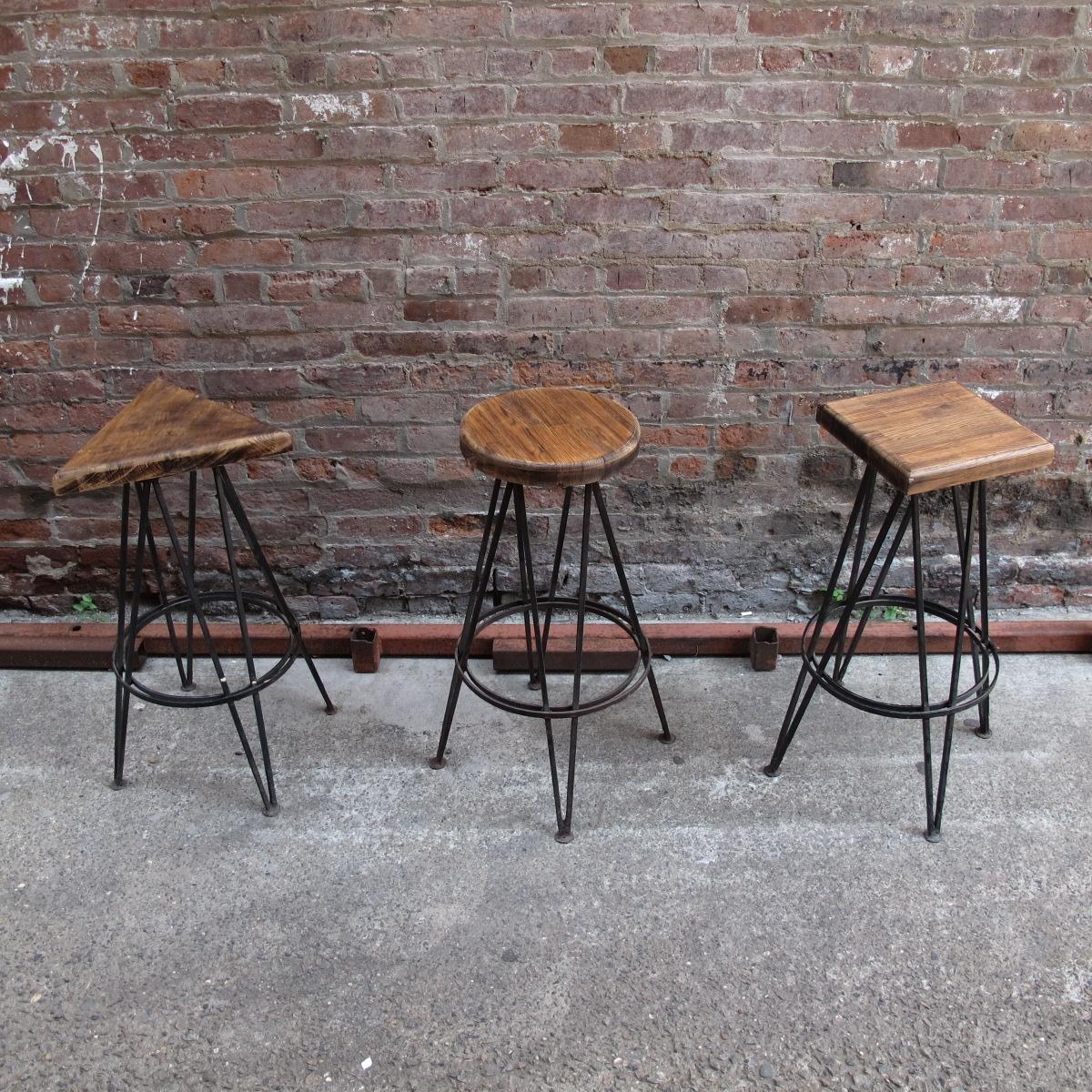 Trio Wood Shape Seat Cast Iron Stools (3) $70/ea