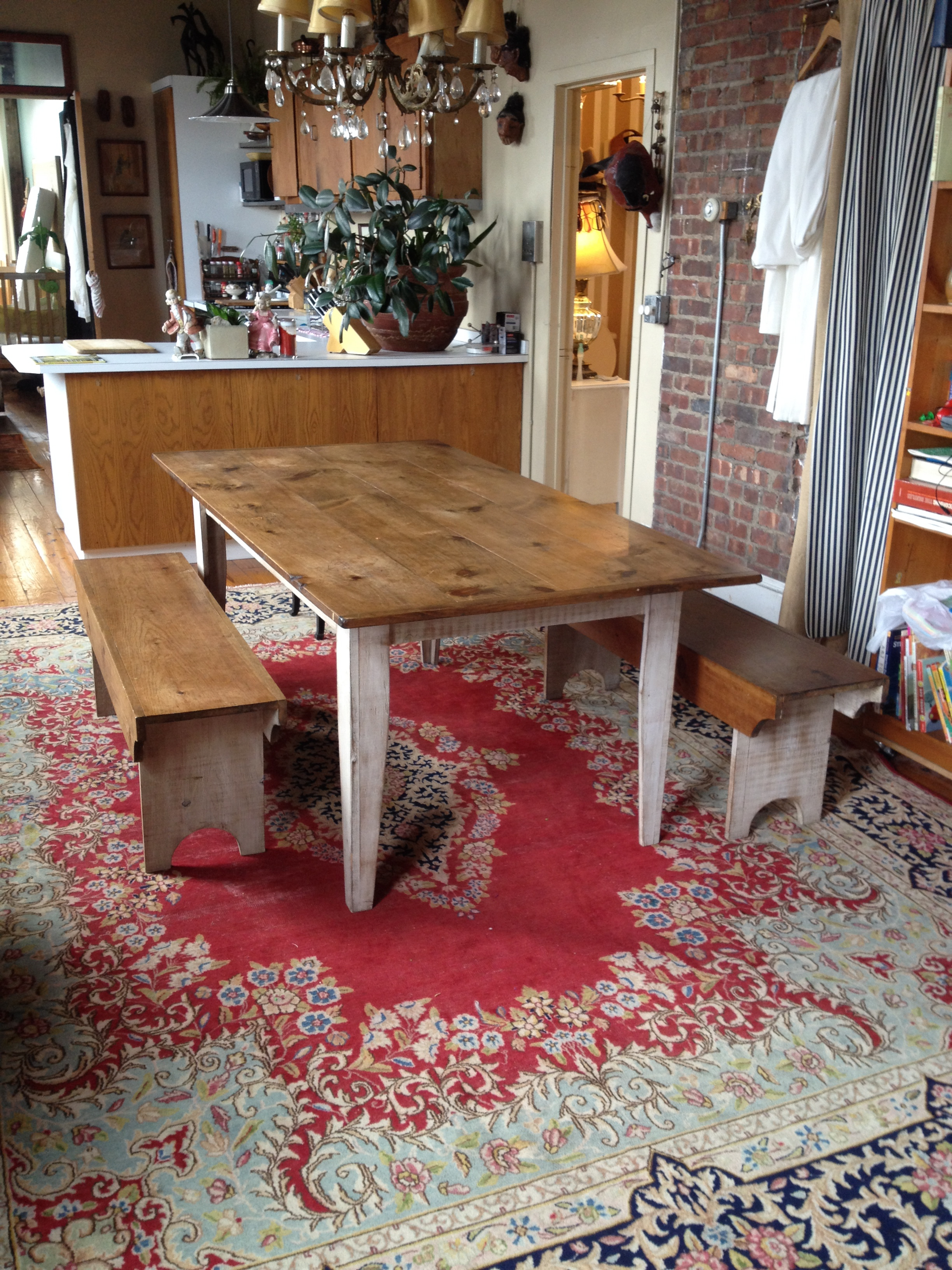 Farm Table with Benches $550