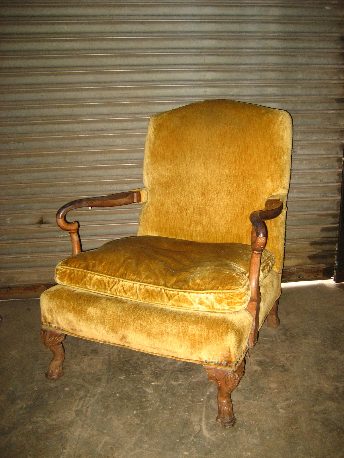 Yellow Crushed Velvet Arm Chair $250