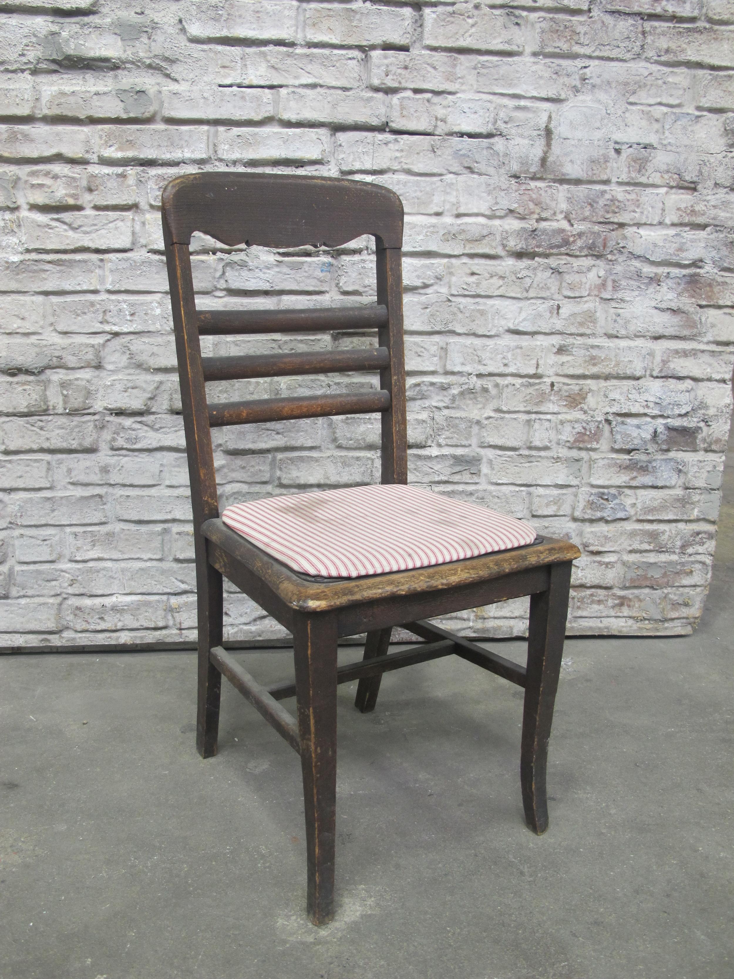 Dark Brown Red Stripe Seat Chair $50