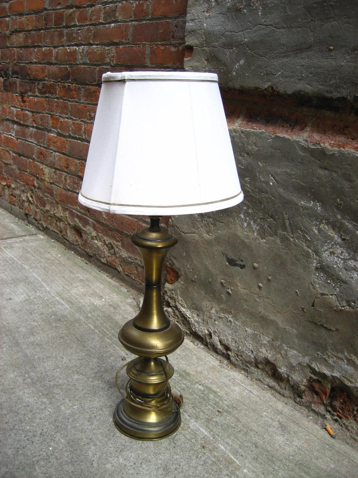 Brushed Metal Lamp w/White Shade $55