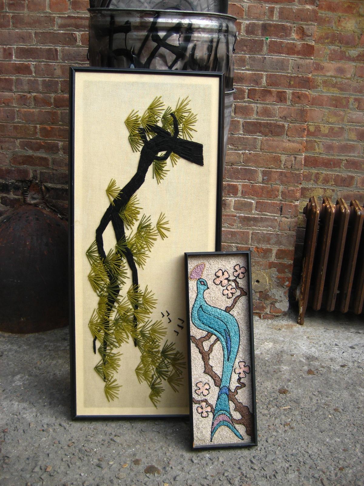 Black Framed Yarn or Stone Wall Art $60/ea