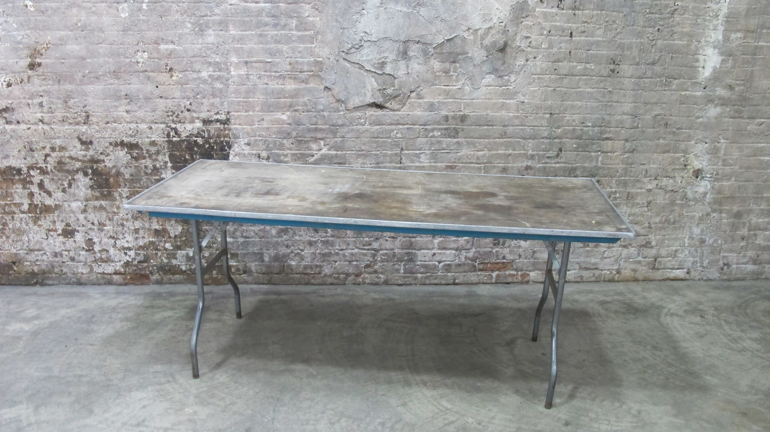 Worn Wood and metal Folding Table $55