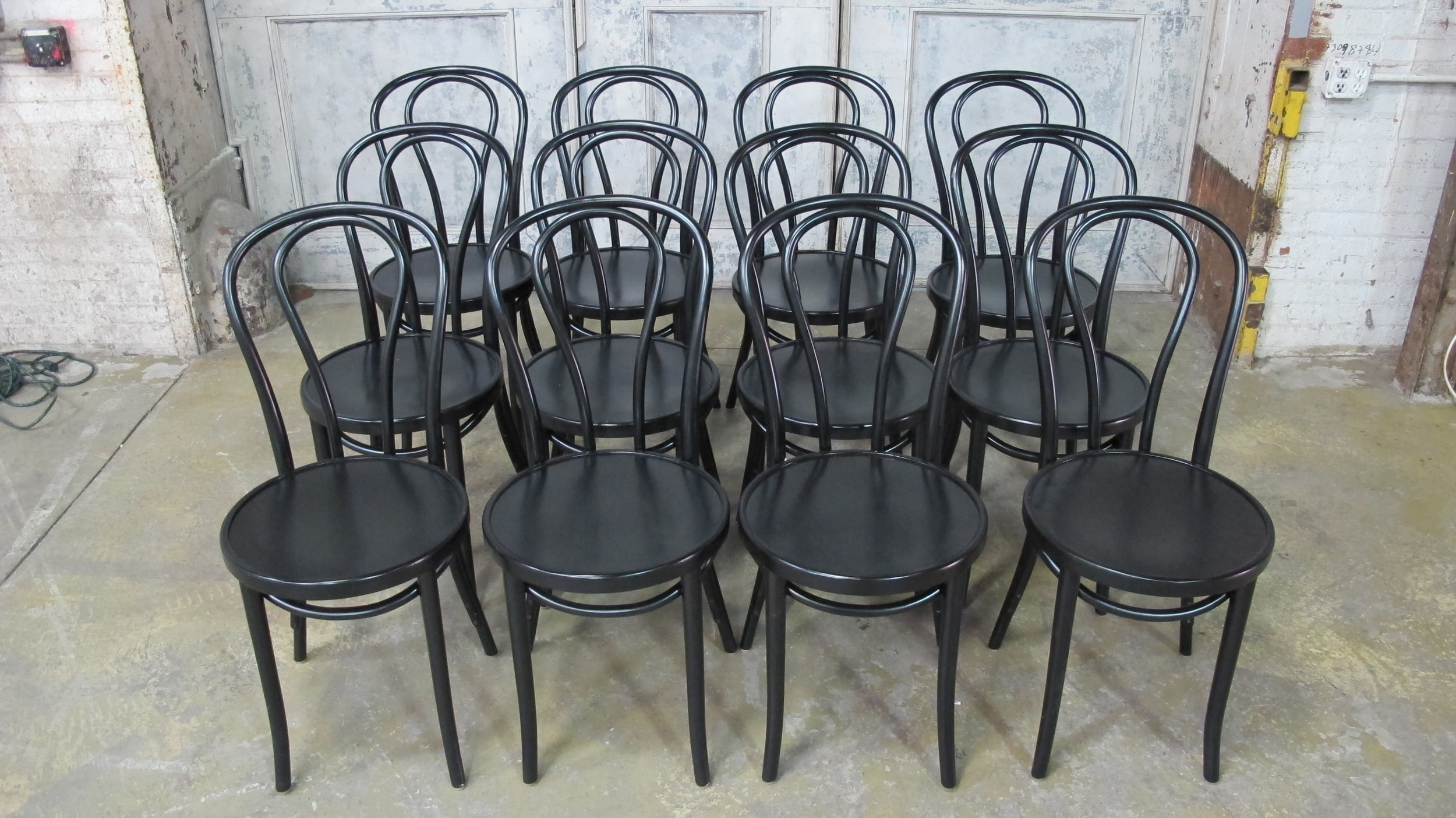 12 black MJ cafe chairs $30/ea