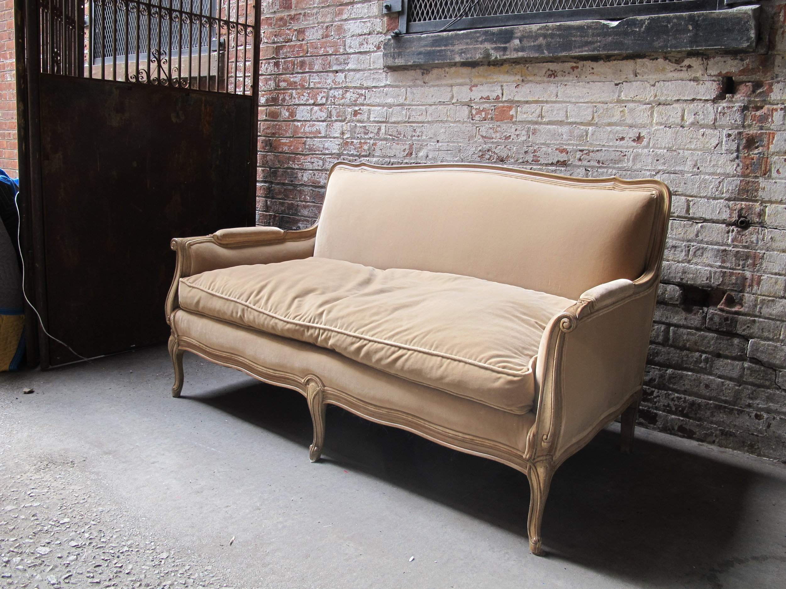 butter velvet sofa $400