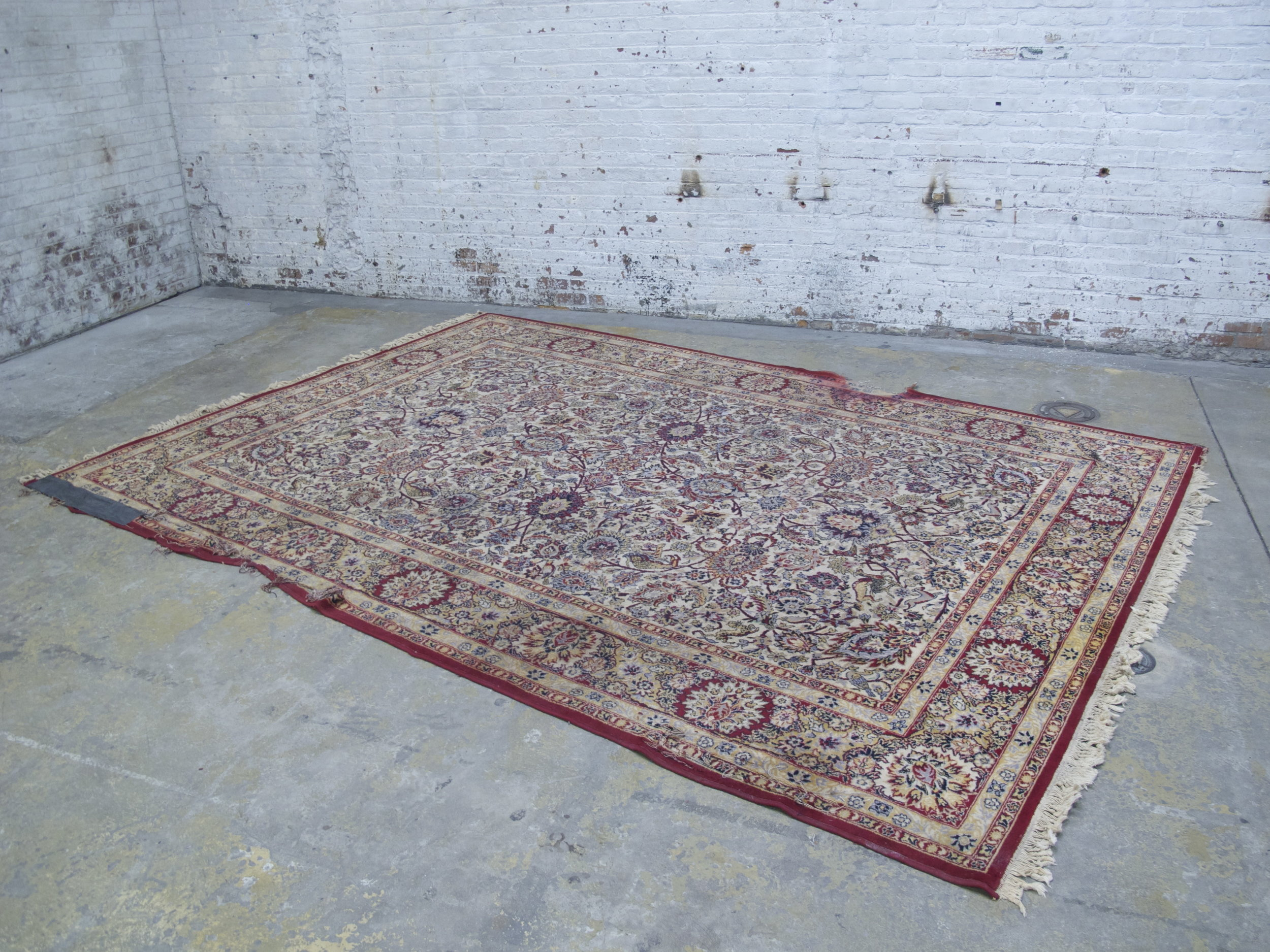 Distressed Red Patterned Rug 11.5ft x 8ft $200