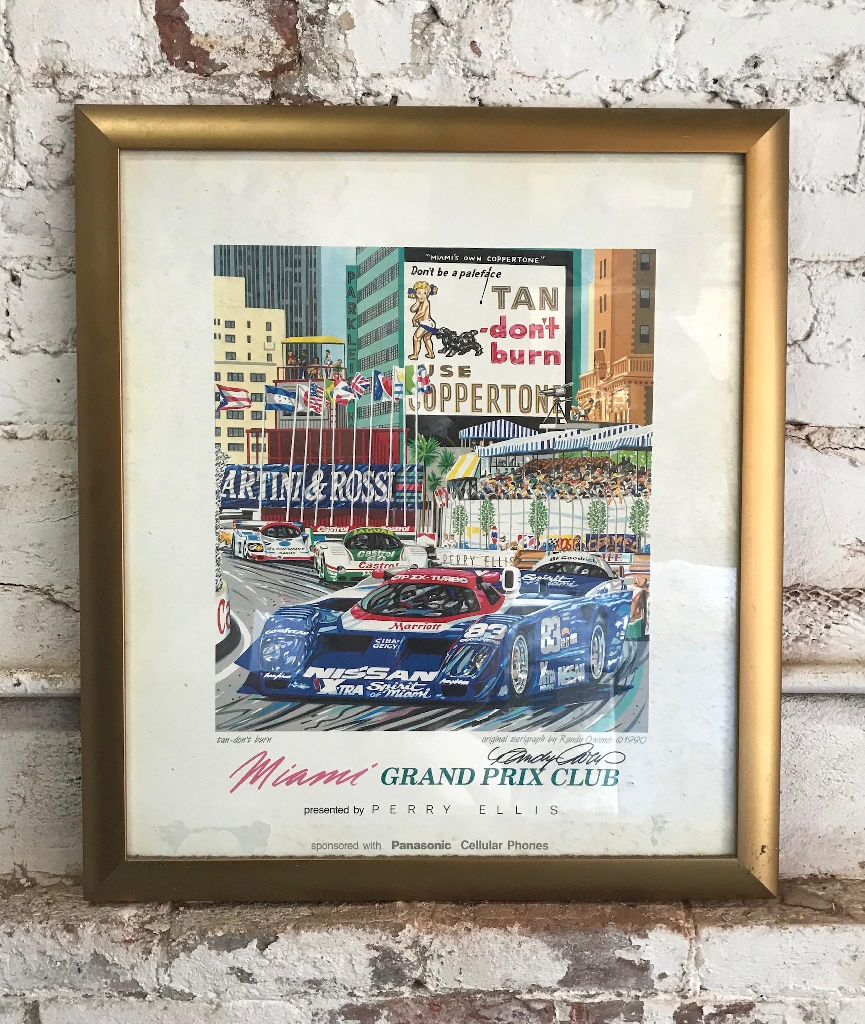 Framed miami grand prix poster $60