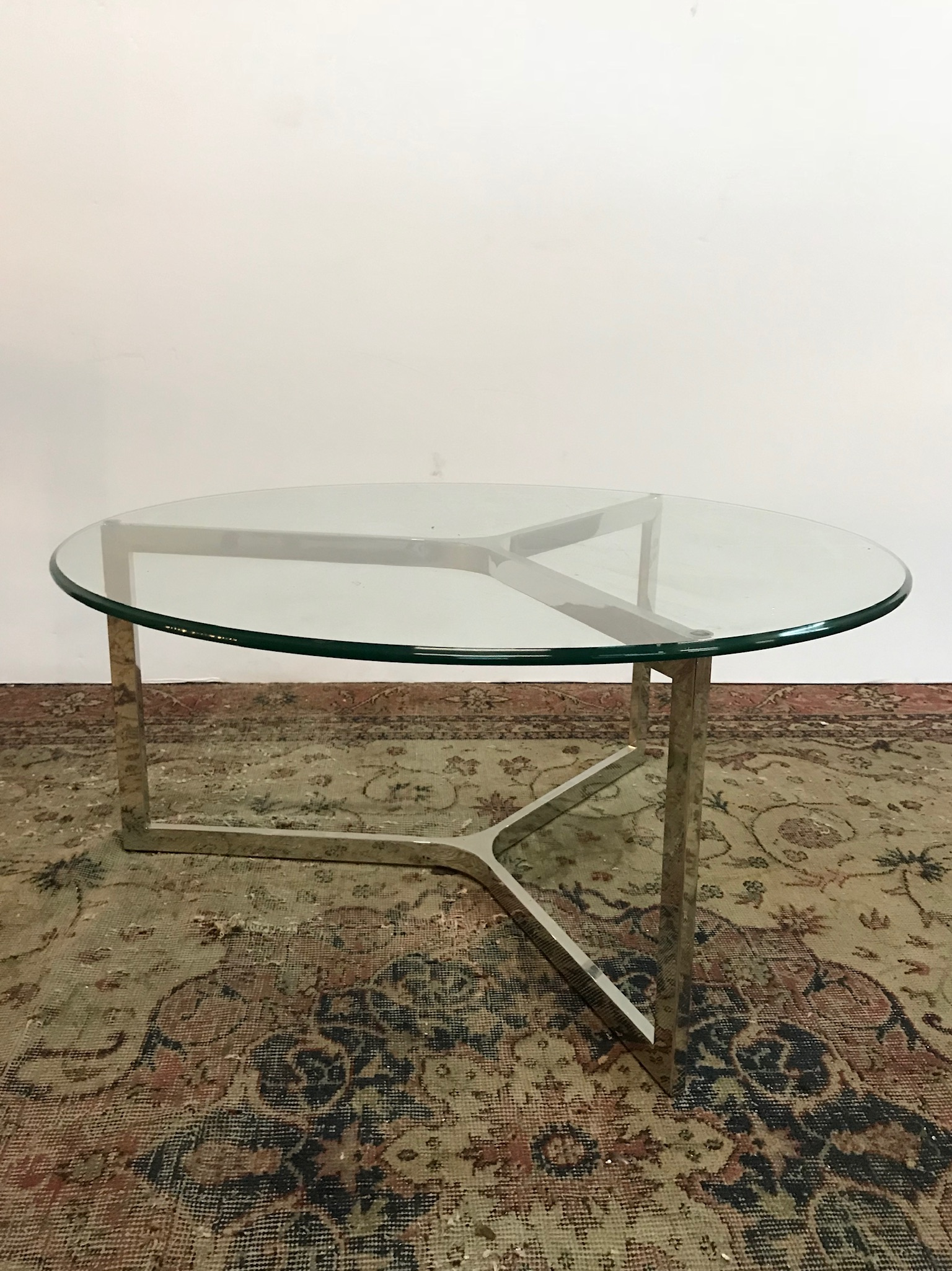 Round Glass Coffee Table $200