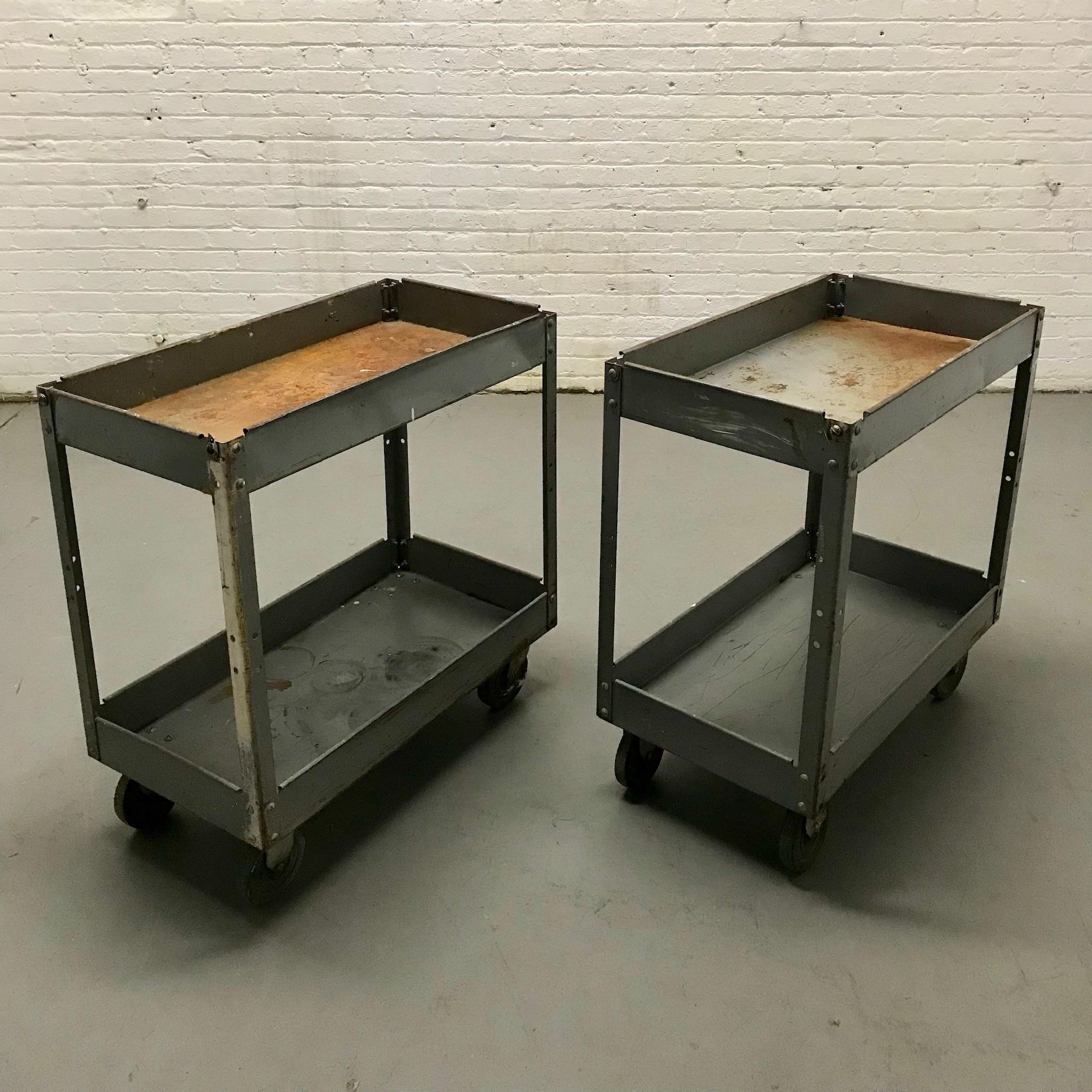 Dark grey Rusted Metal Tool Carts (2) $60/ea