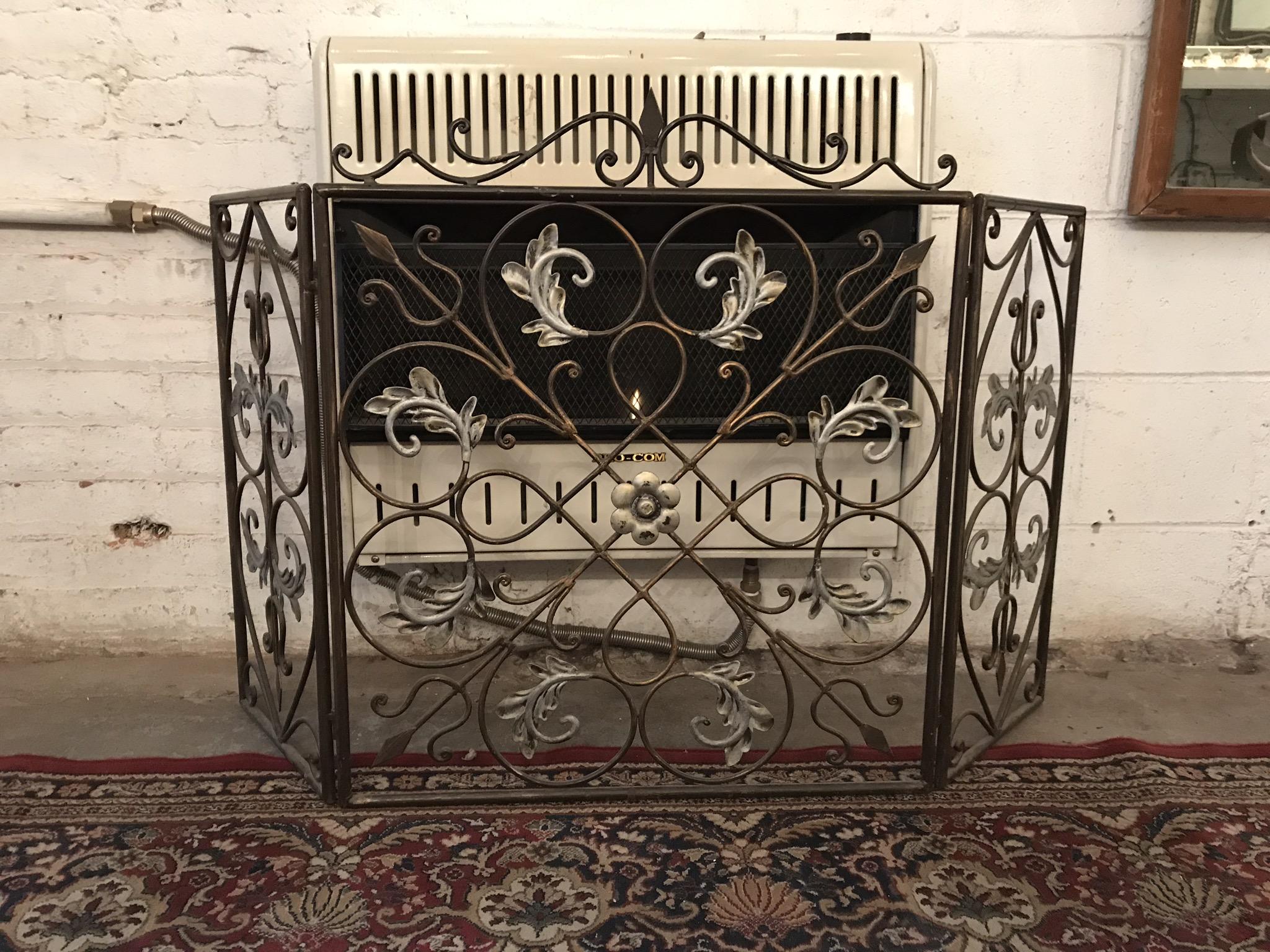 Black & silver fireplace screen $125