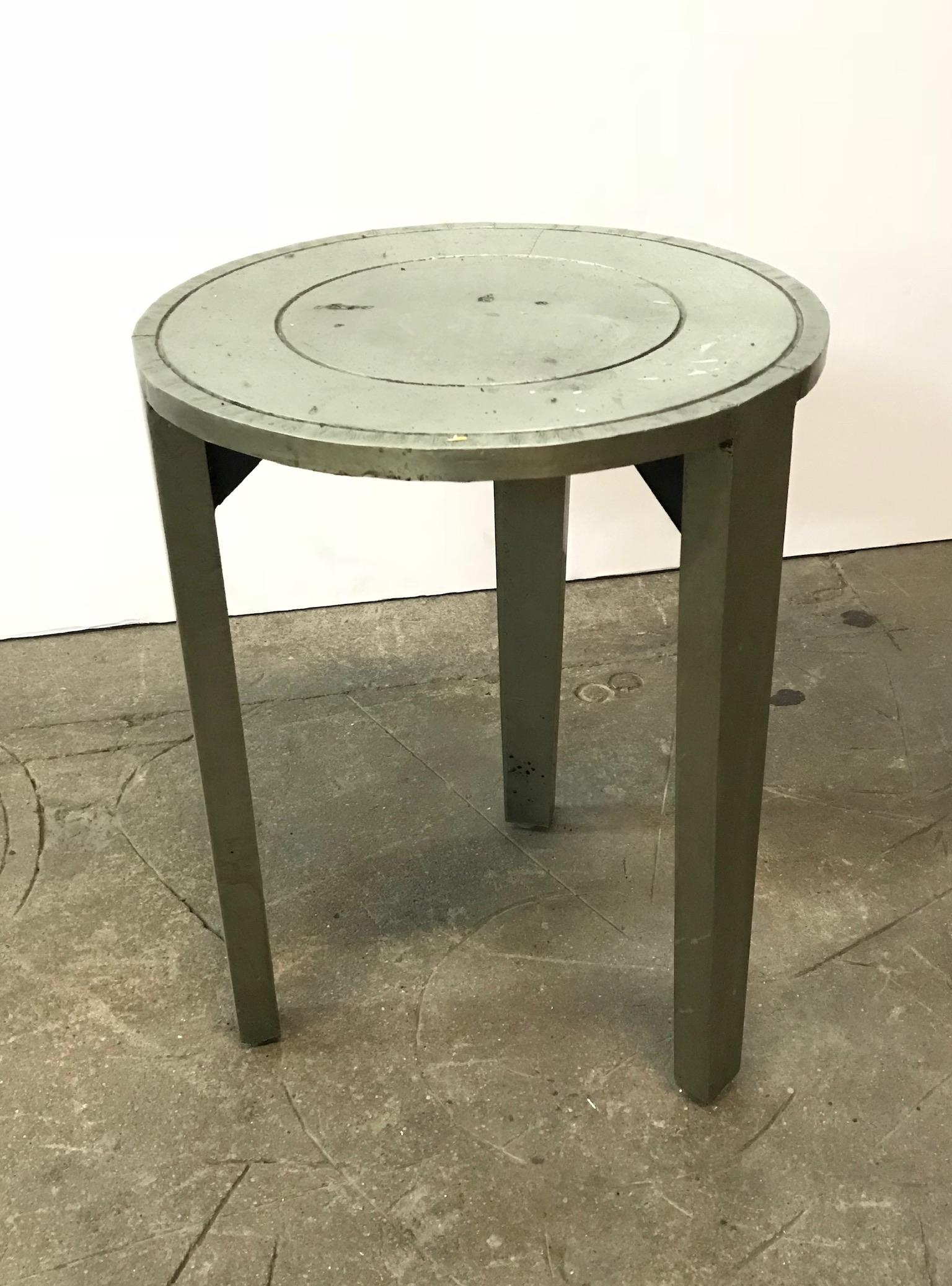 Grey metal side table $40