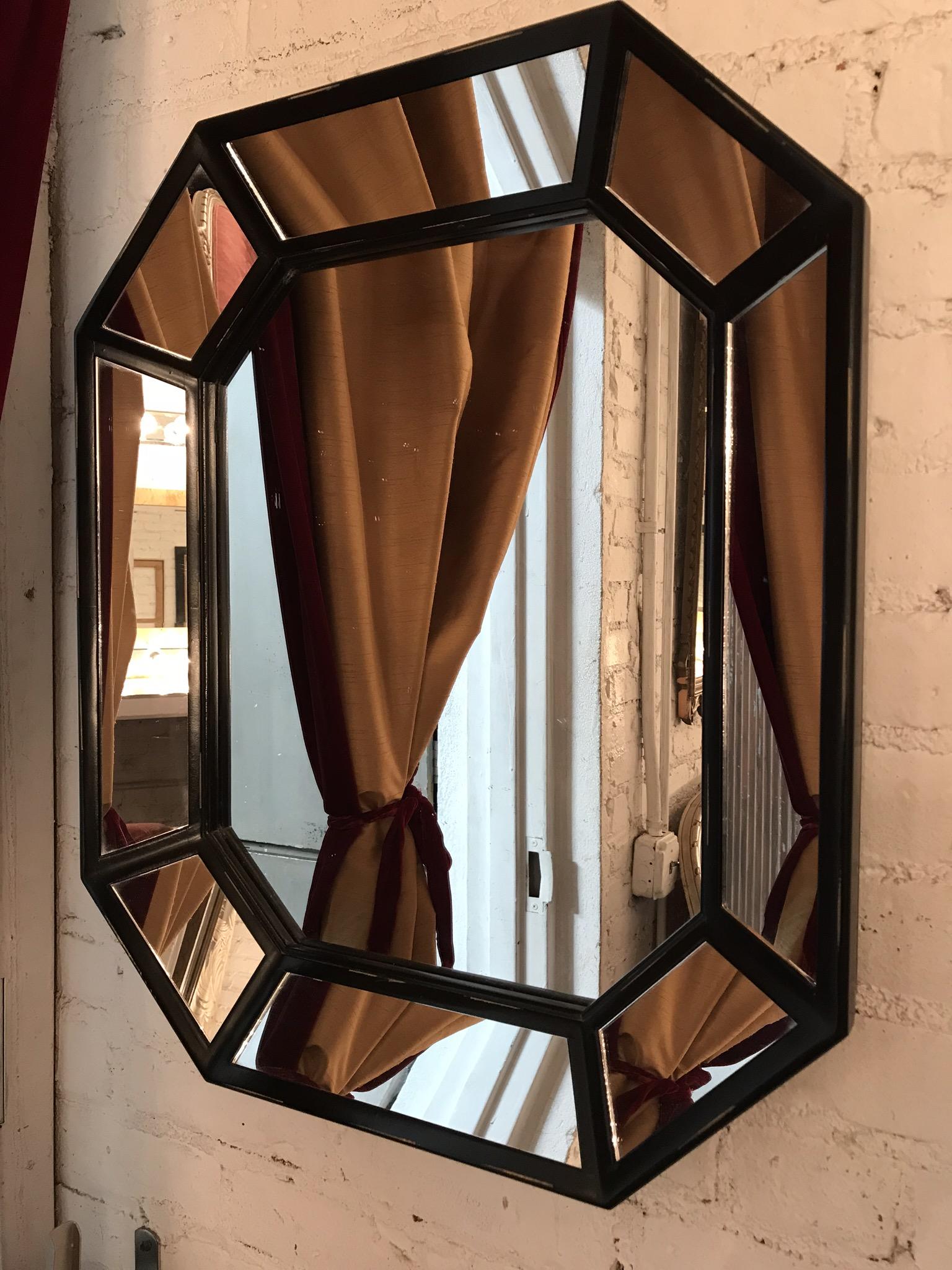 Black framed Octagon Mirror $80