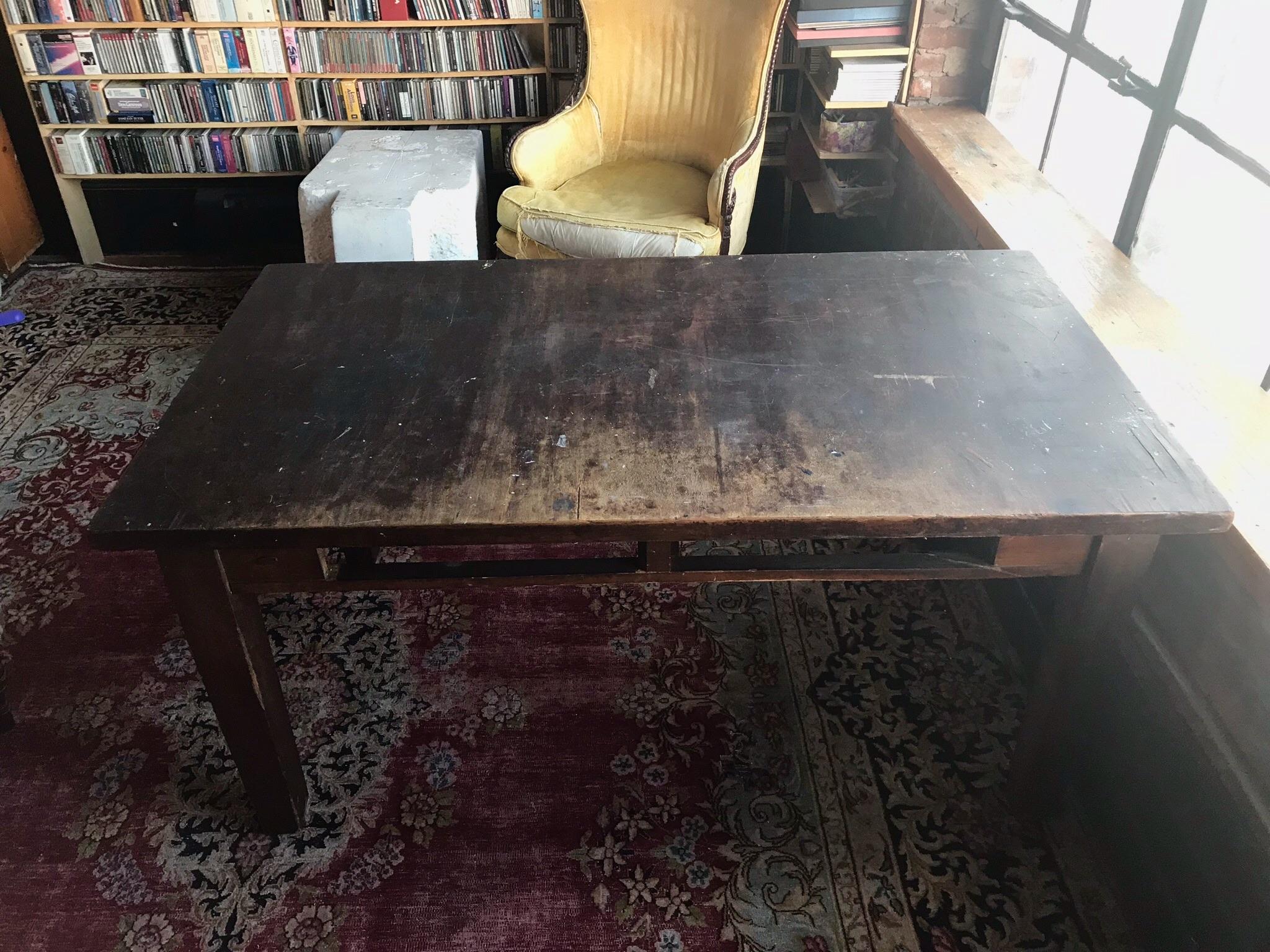 DRAWER LESS Worn Wood Table $200