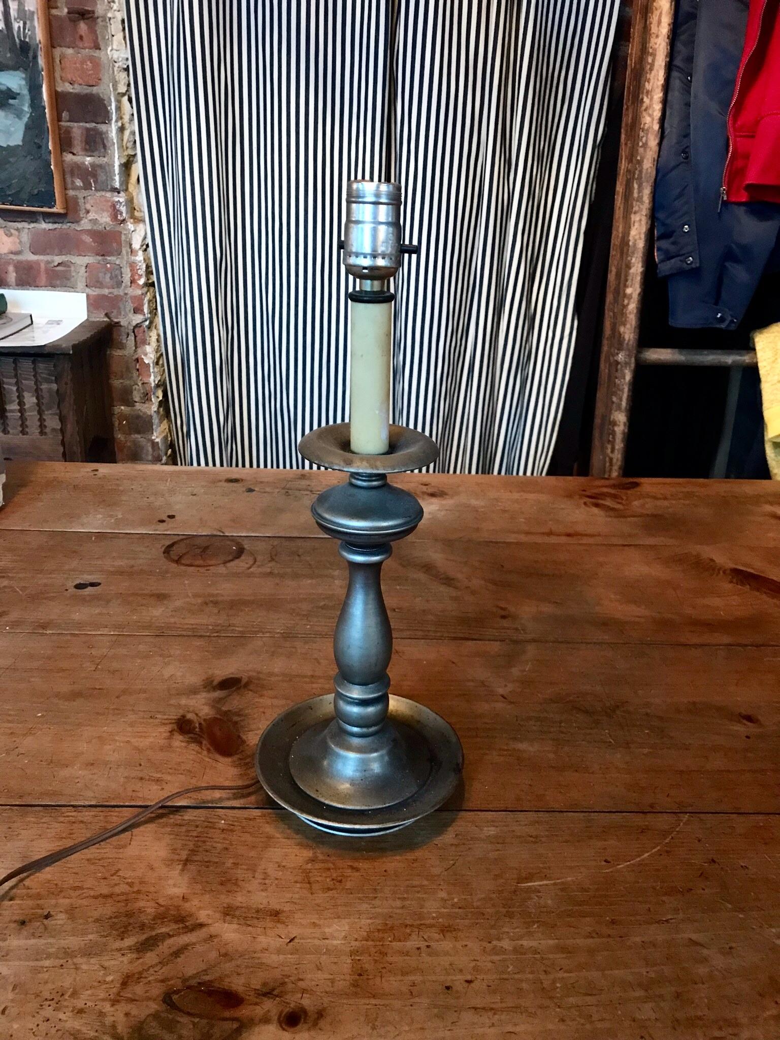 Brushed metal candlestick lamp $40