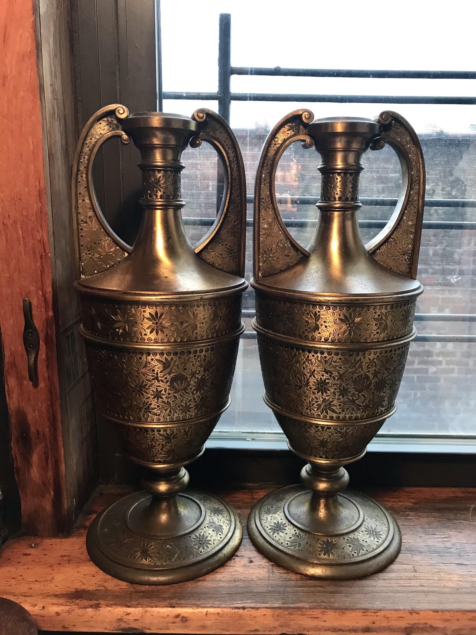 Twin Metal vase lamps $50/ea