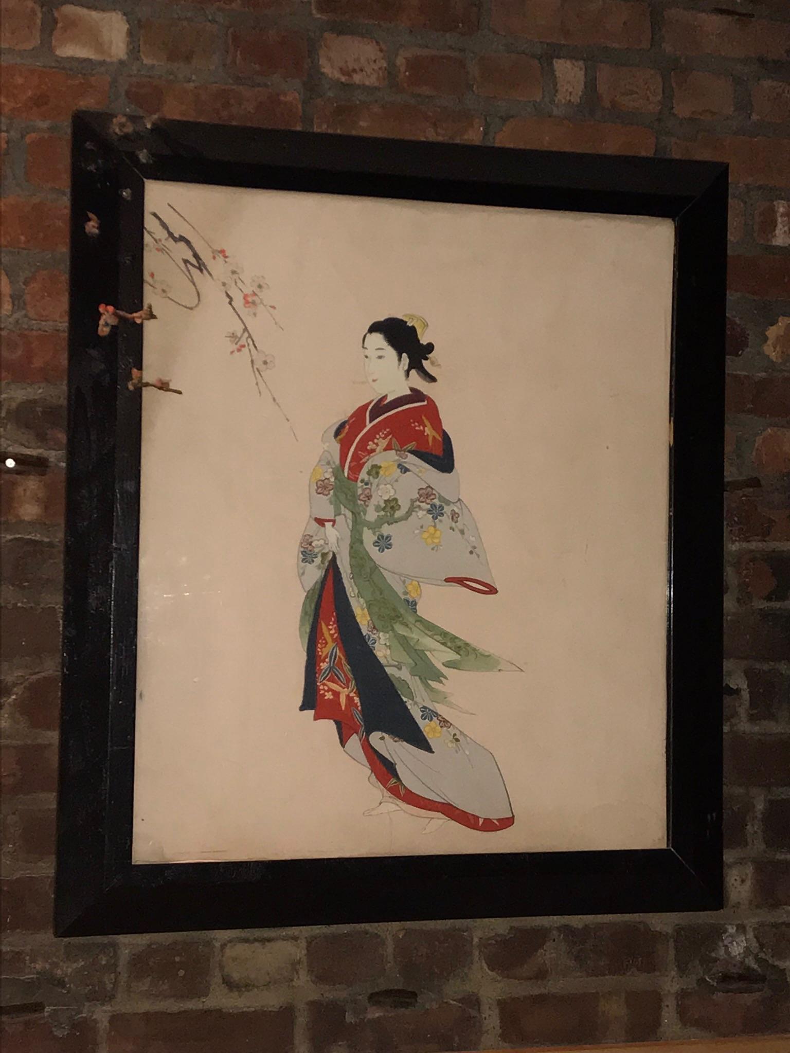 Framed Japanese Figure Painting $60