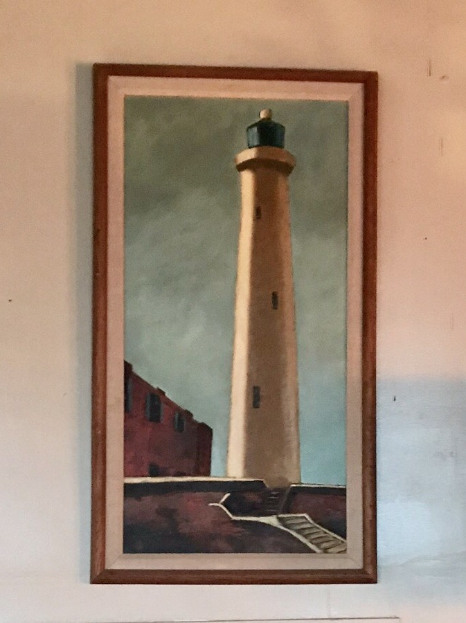 Framed Lighthouse Painting $60