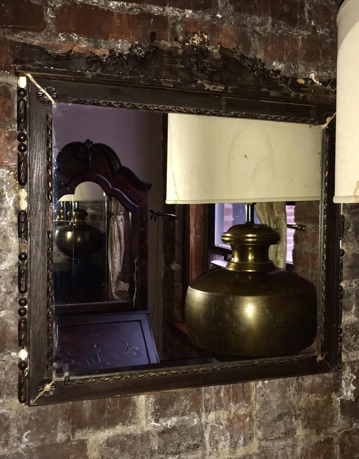 Distressed Dark wood ORNATE mirror $85