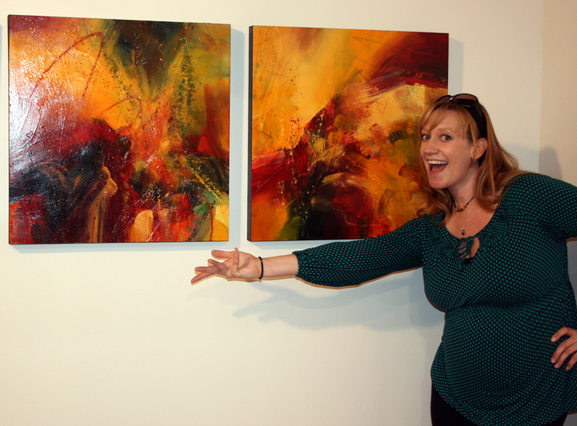 """Me, 7 months pregnant, doing the """"Vanna White"""" at last years Conversations in Color solo show."""