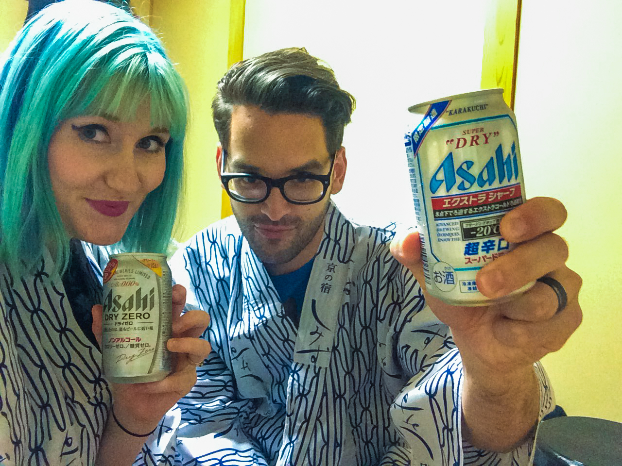 Us in our Ryokan provided PJs