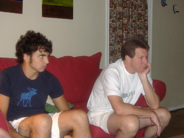 Dom & Dad watching futbol