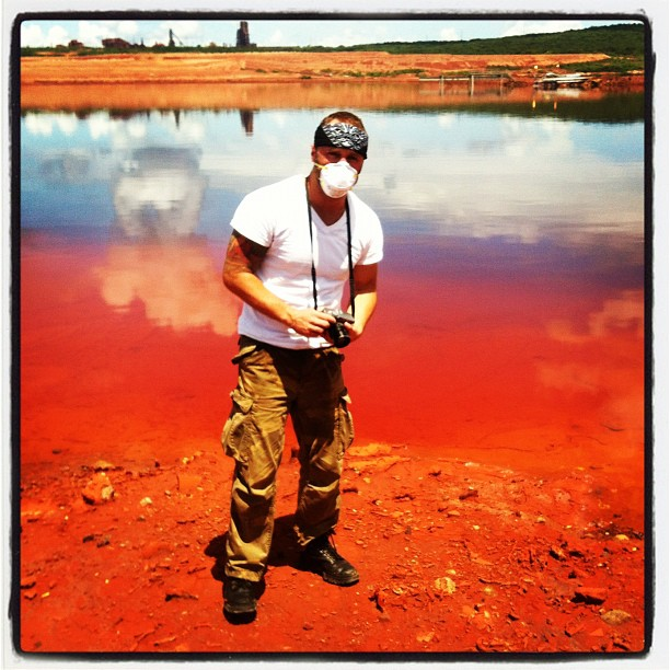 Photographing the aluminum factory that produces tons of toxic red mud.