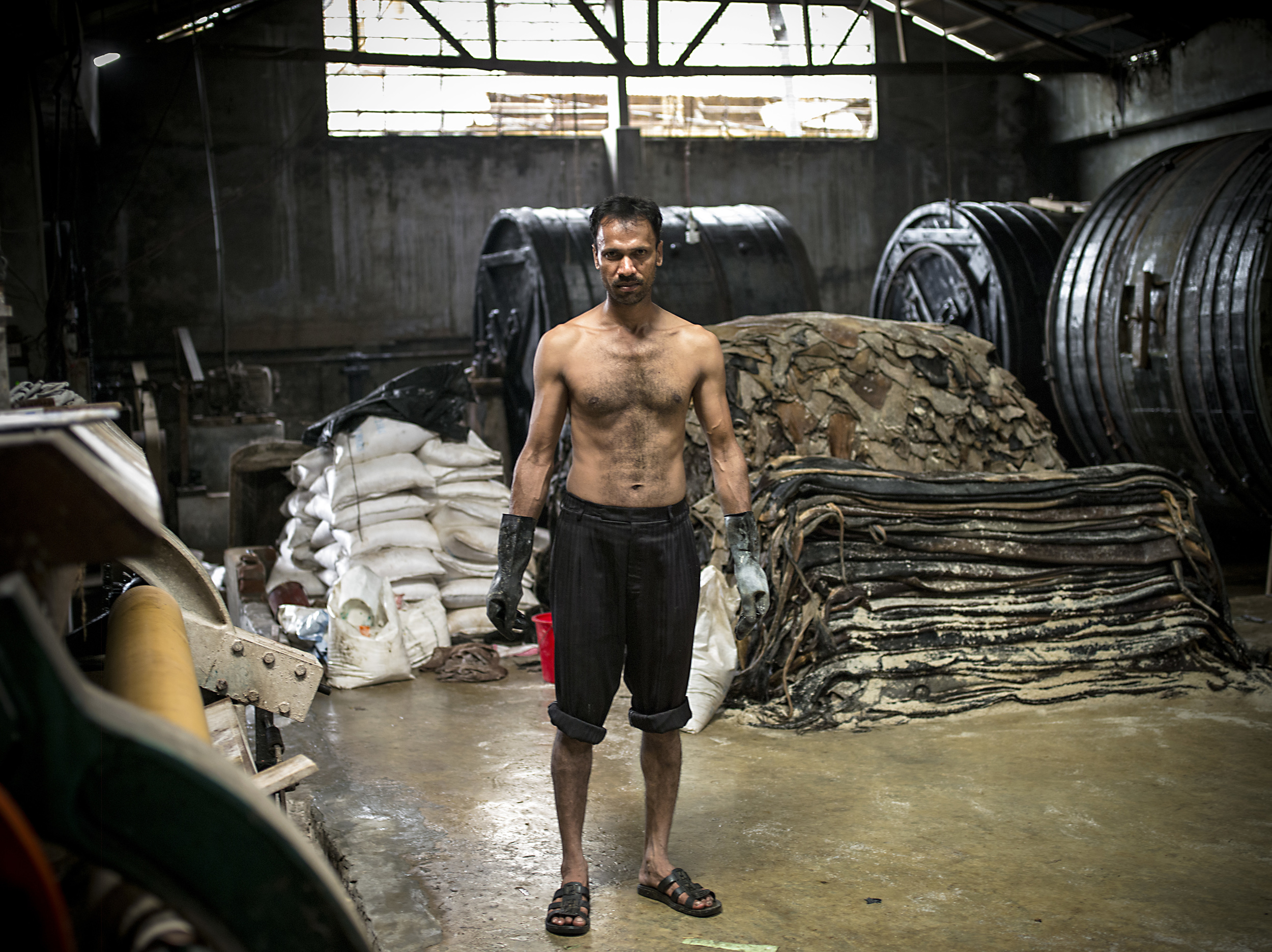Man working at a tannery.