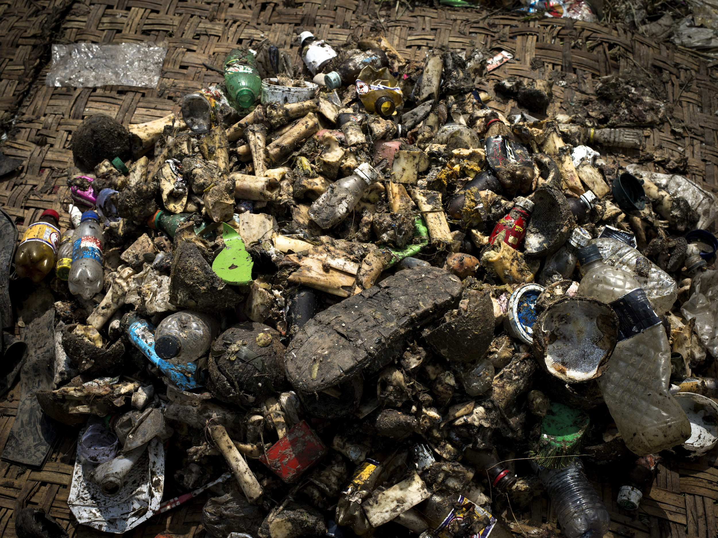 Plastics, bones and rubber collected from Mutuail Landfill in Dhaka, Bangladesh.