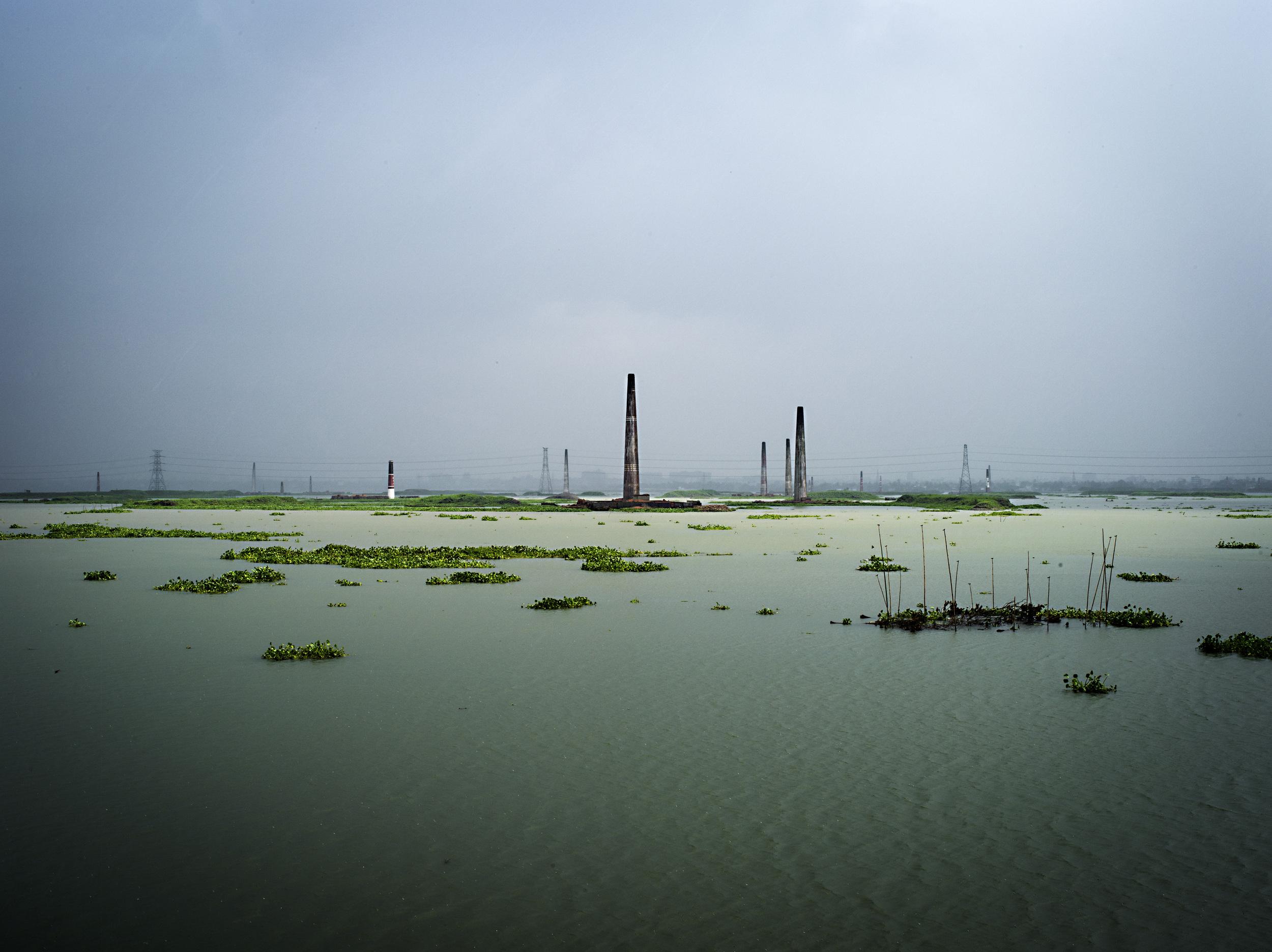 Bricks kilns byAminbazar Sanitary Landfill, Dhaka.