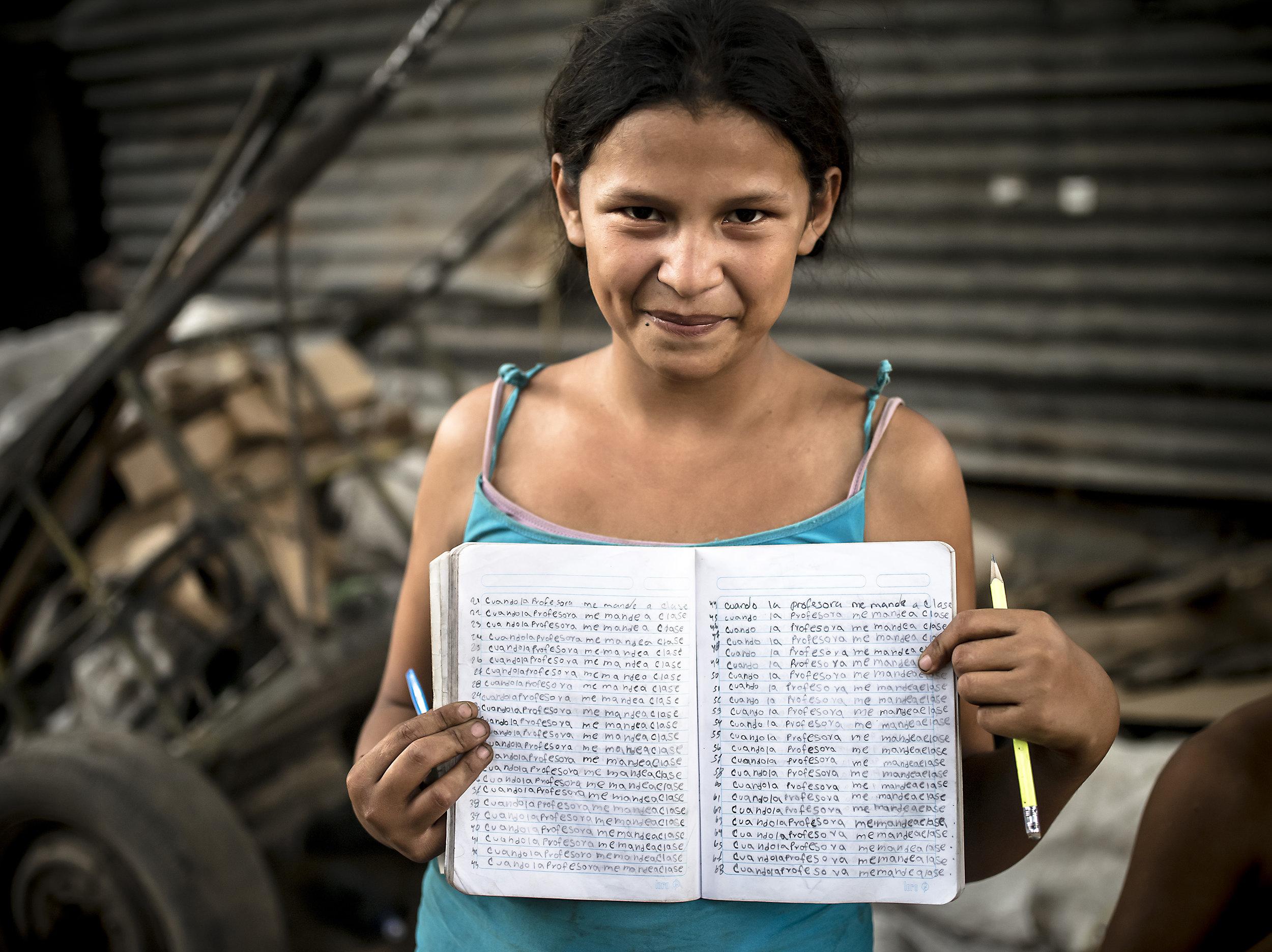 Josefina shares her homework.